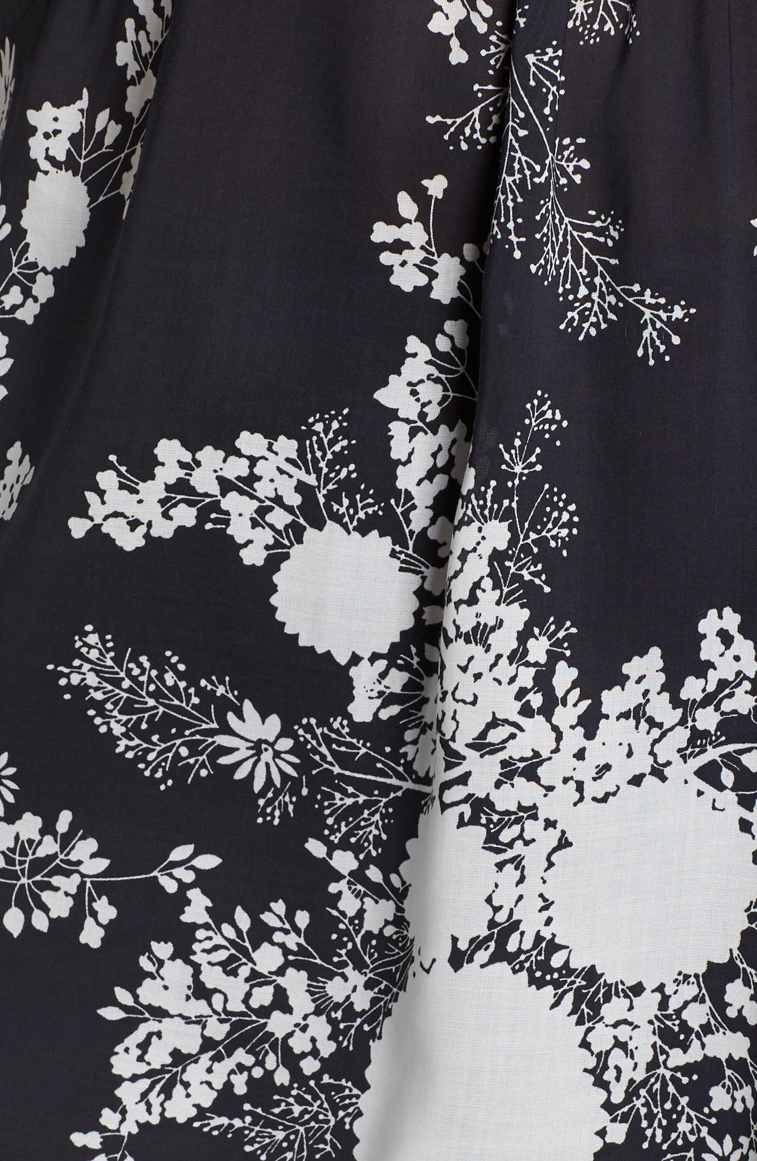 Floral Print Blouse,                             Alternate thumbnail 6, color,                             BLACK BLOOM FLORAL