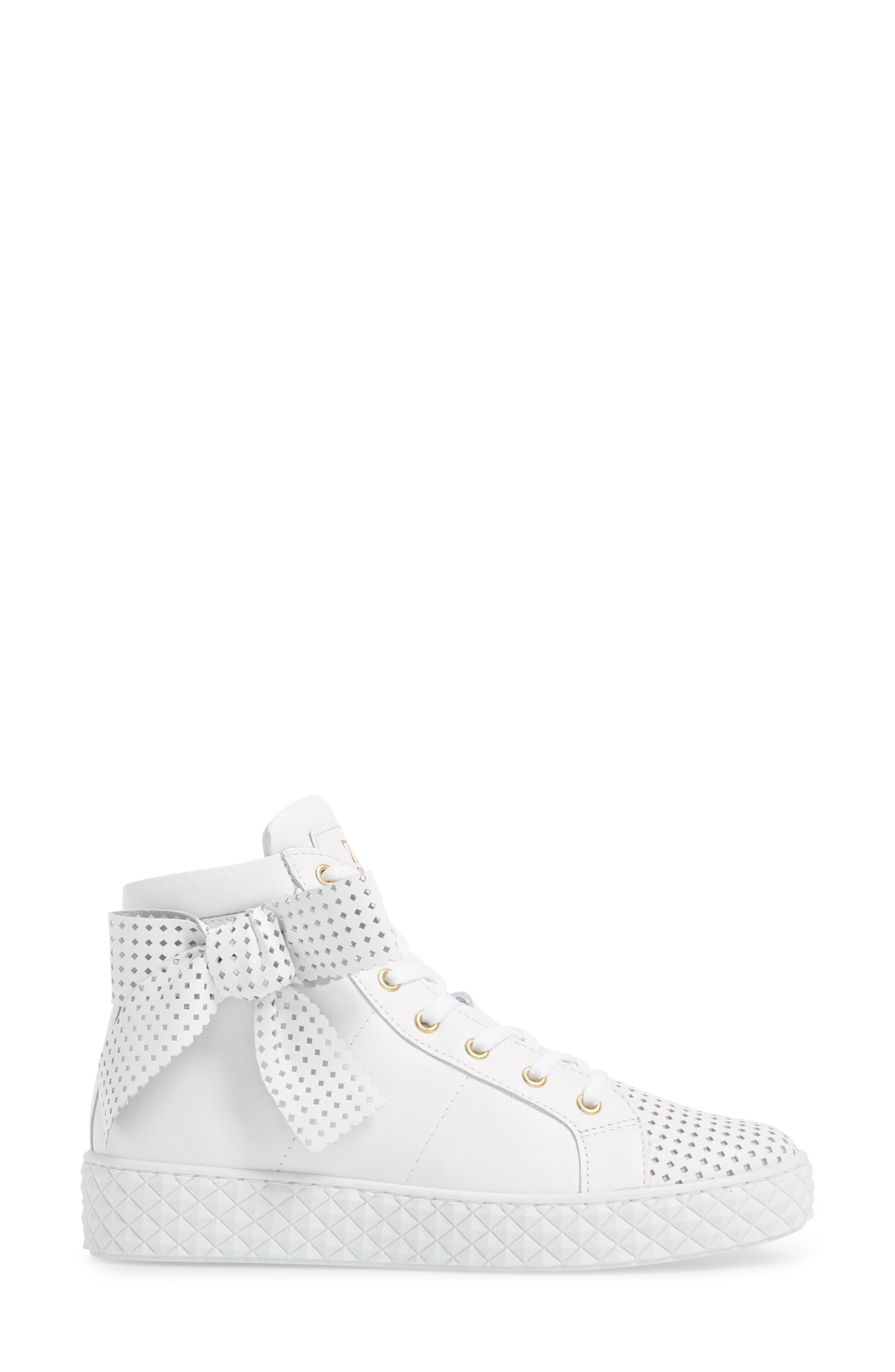 Avery High Top Sneaker,                             Alternate thumbnail 3, color,                             WHITE LEATHER