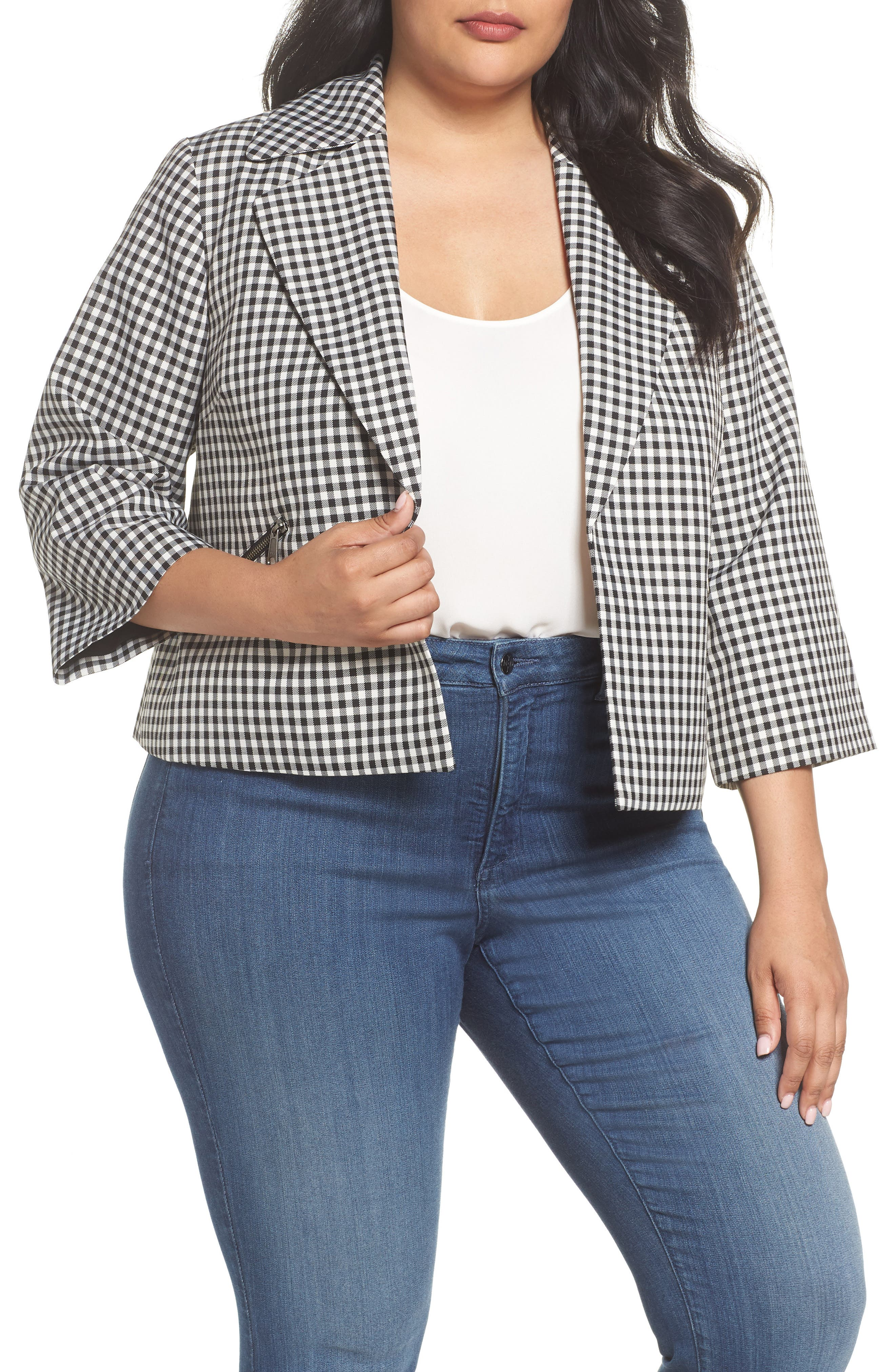 Gingham Crop Jacket,                         Main,                         color,