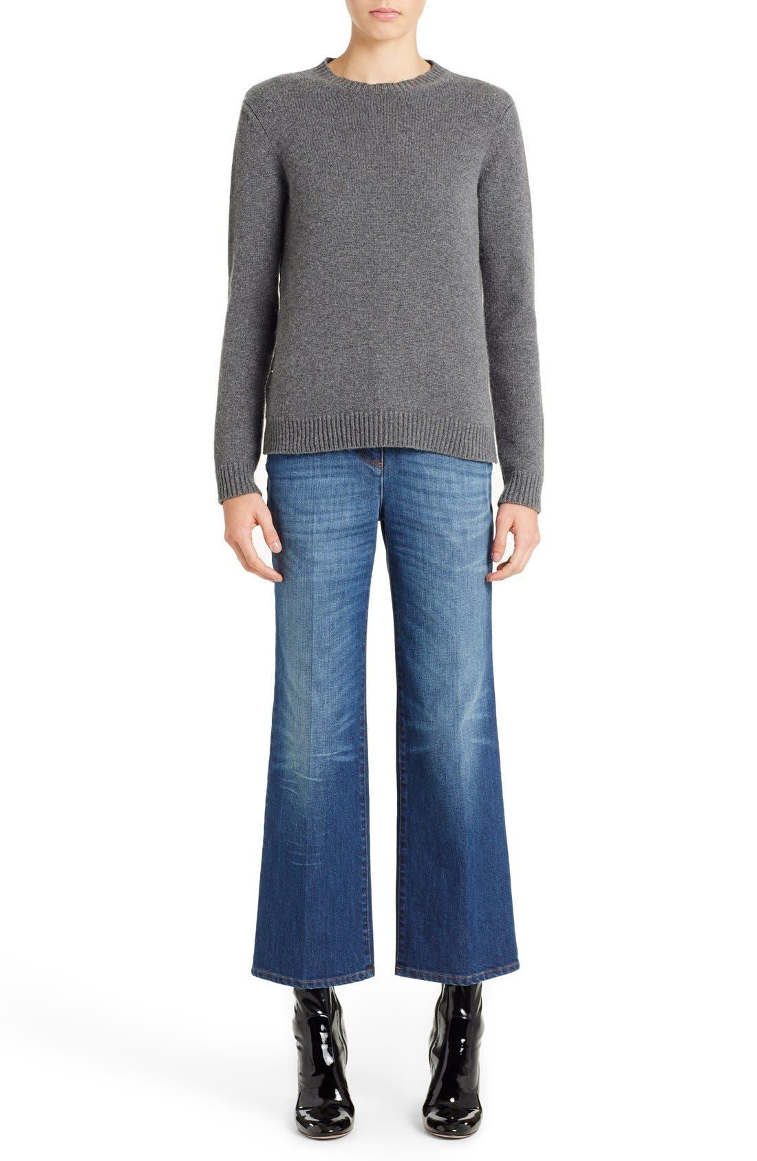 Studded Crewneck Cashmere Sweater,                             Main thumbnail 1, color,                             GREY