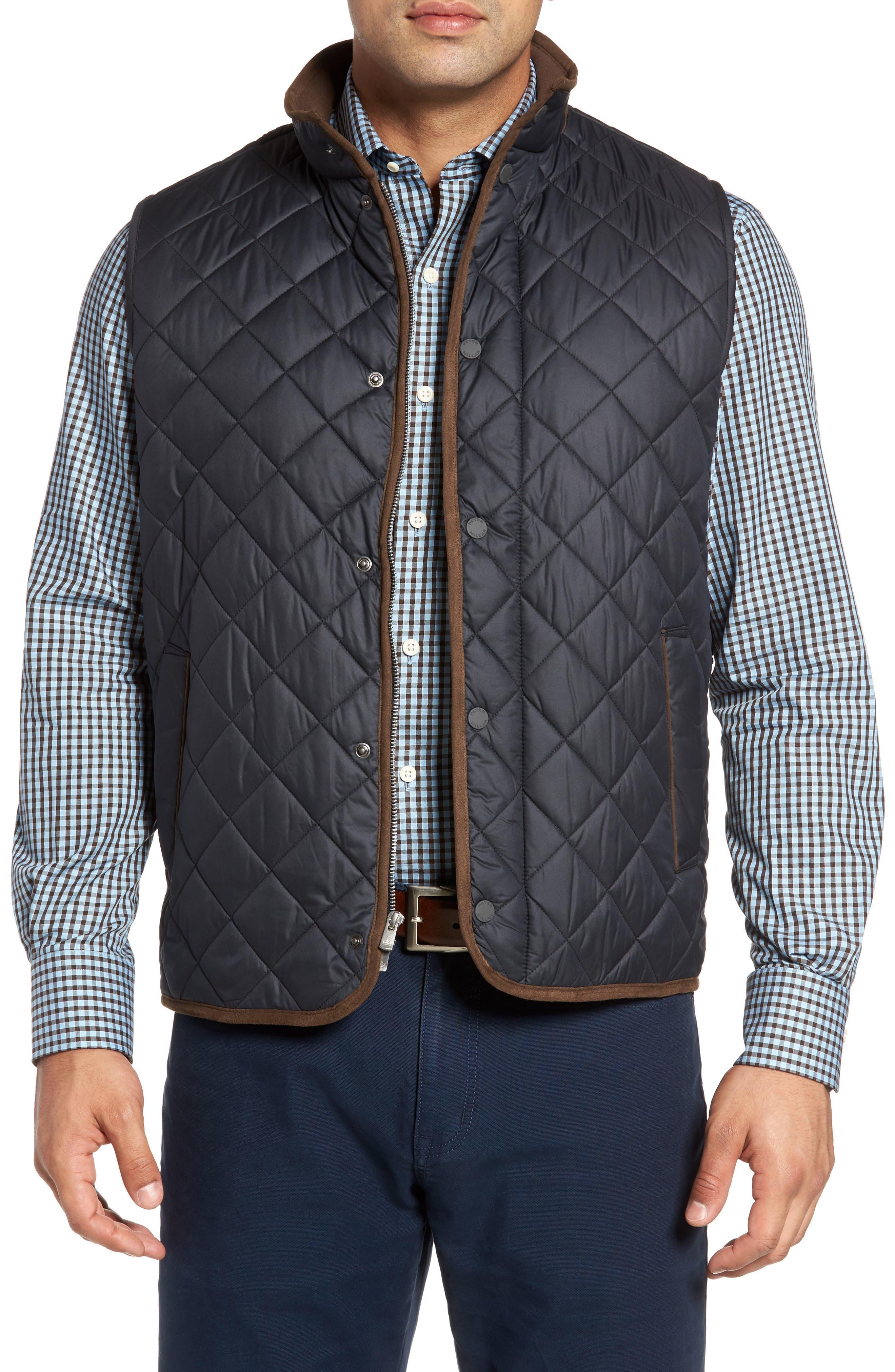 Essex Quilted Vest,                         Main,                         color, BLACK / BLACK