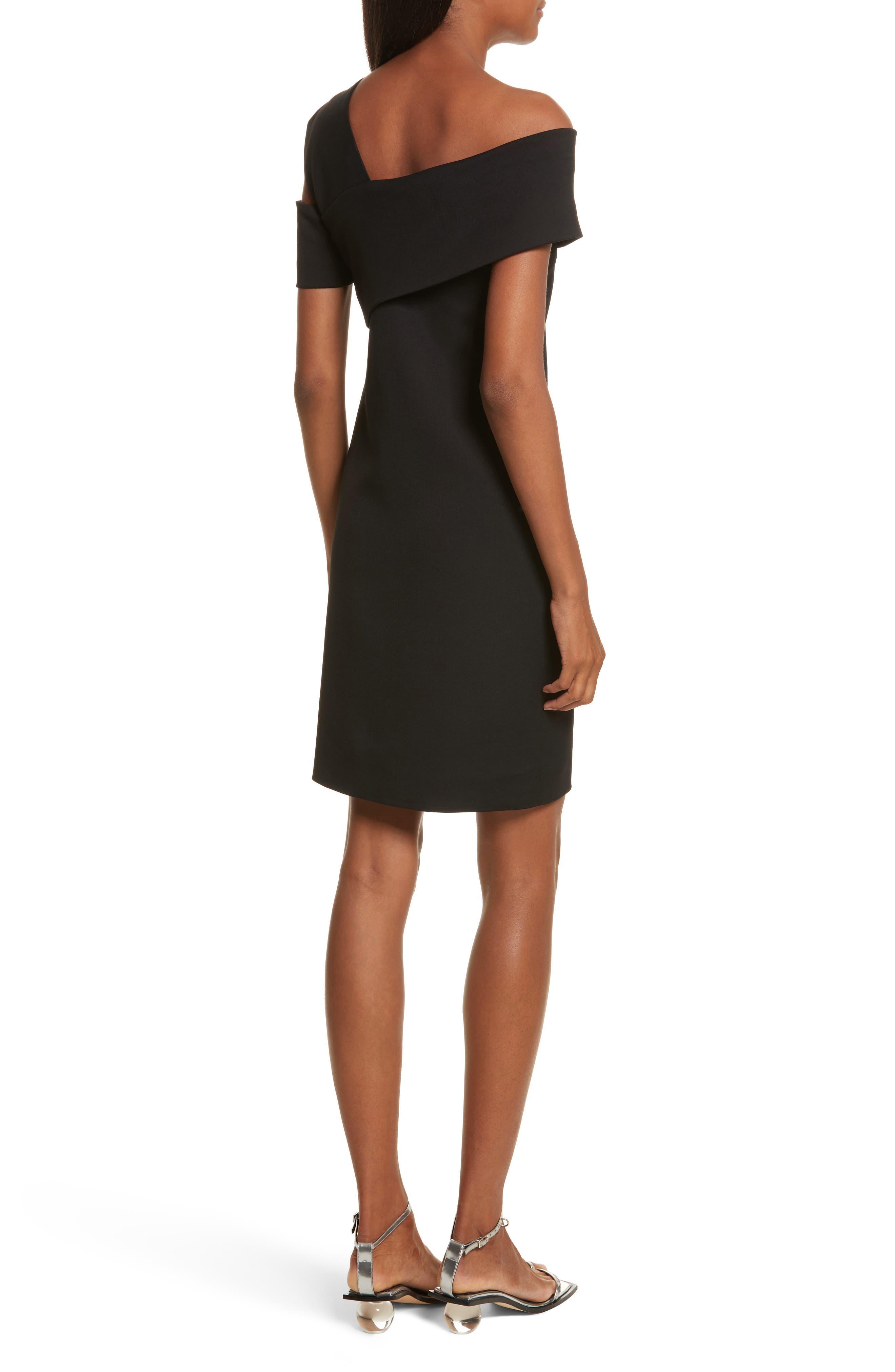 Asymmetrical Off the Shoulder Scuba Dress,                             Alternate thumbnail 2, color,                             001