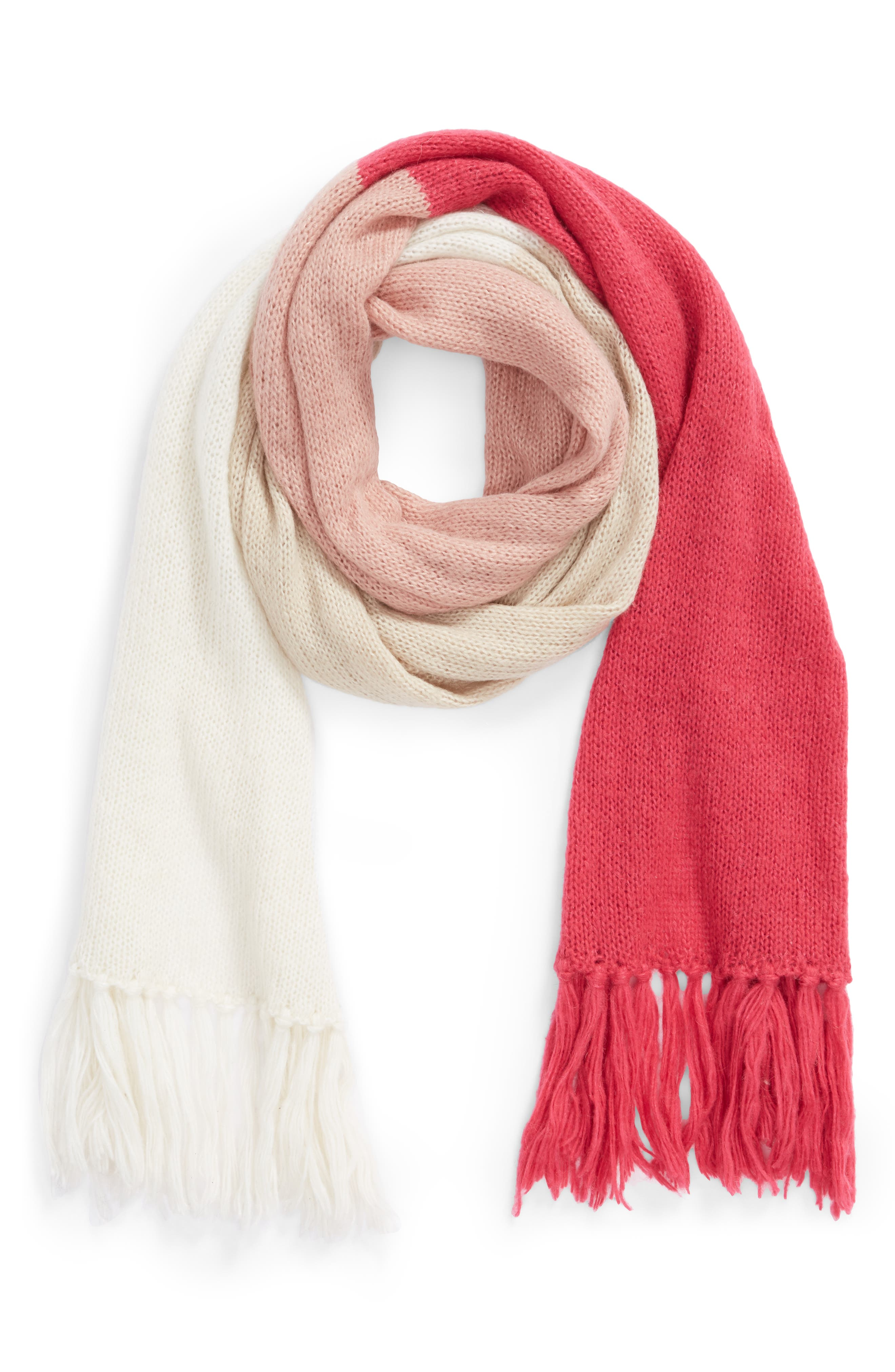 brushed colorblock blanket scarf,                             Alternate thumbnail 2, color,                             CREAM/ OATMEAL/ PEONY/ BEGONIA