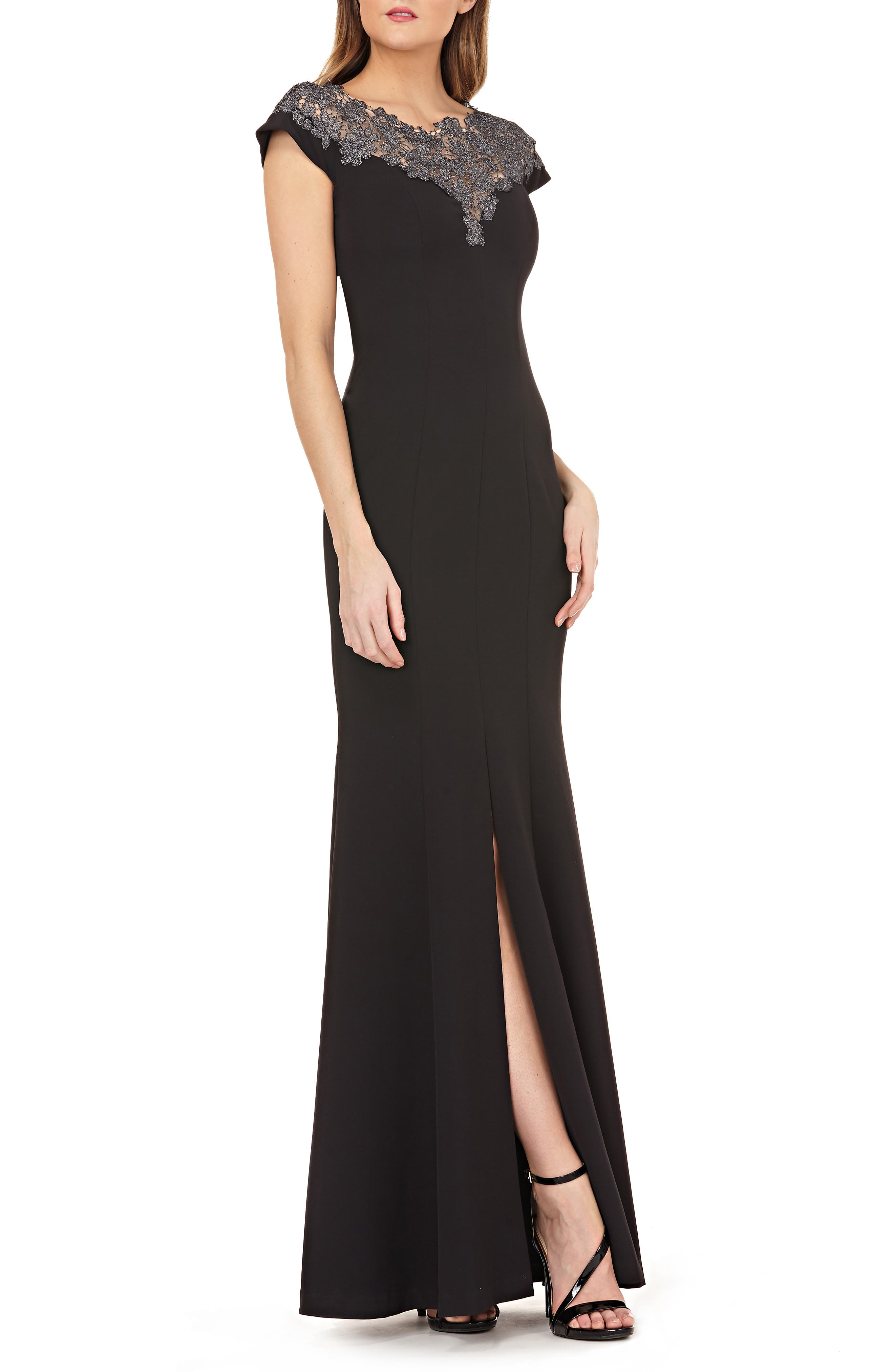JS COLLECTIONS,                             Lace Yoke Crepe Trumpet Gown,                             Main thumbnail 1, color,                             BLACK