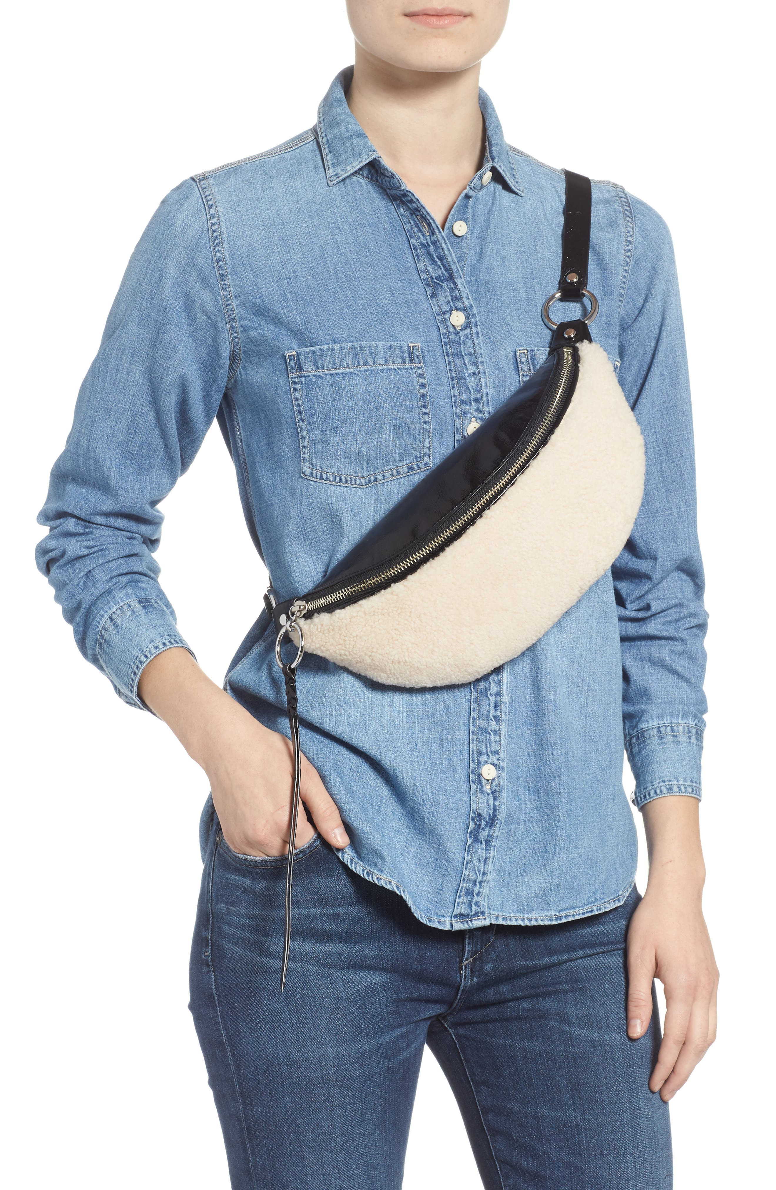 Genuine Shearling Belt Bag,                             Alternate thumbnail 3, color,                             NATURAL