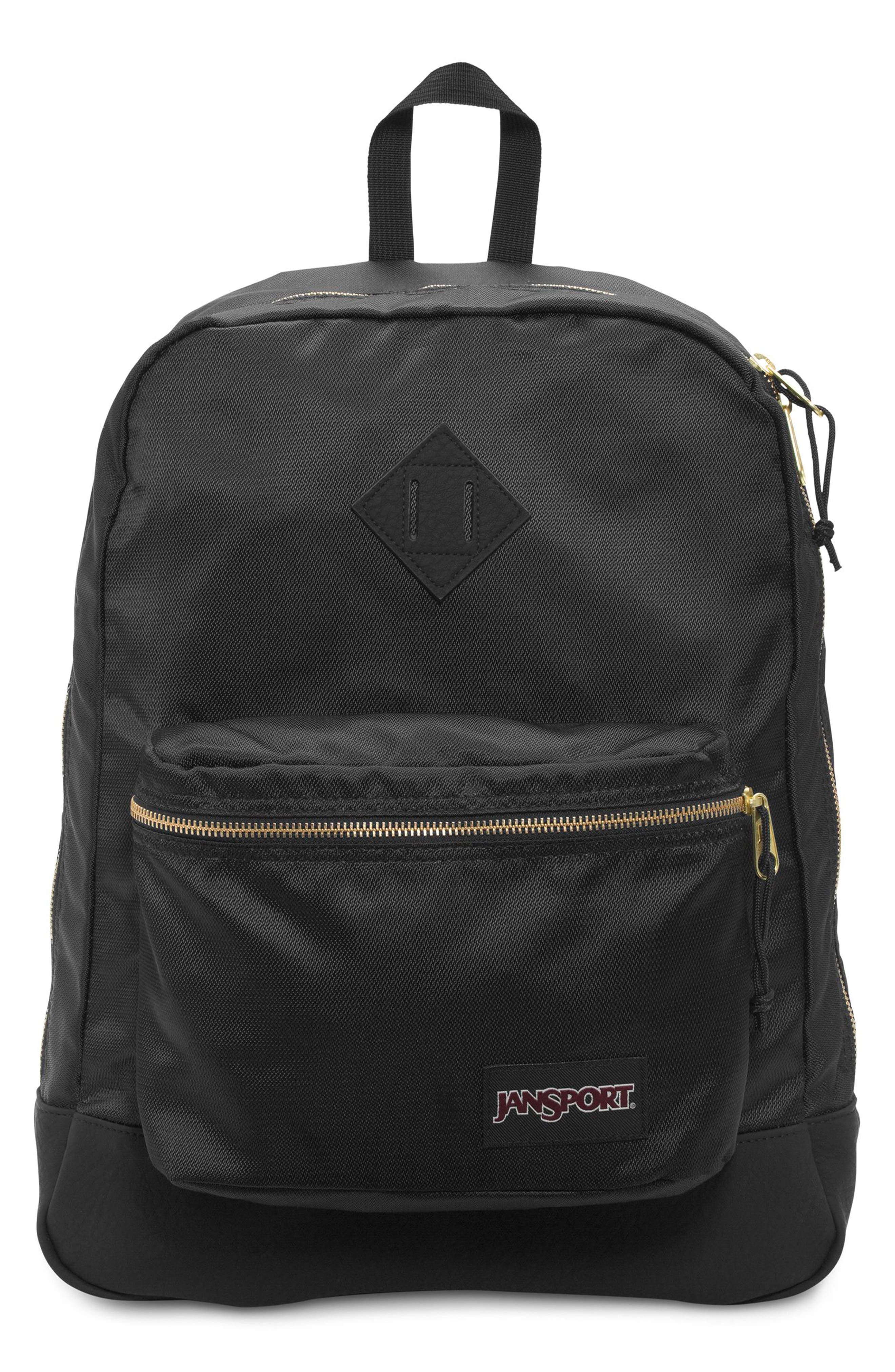 JANSPORT Super Fx Gym Backpack - Black in Black Gold
