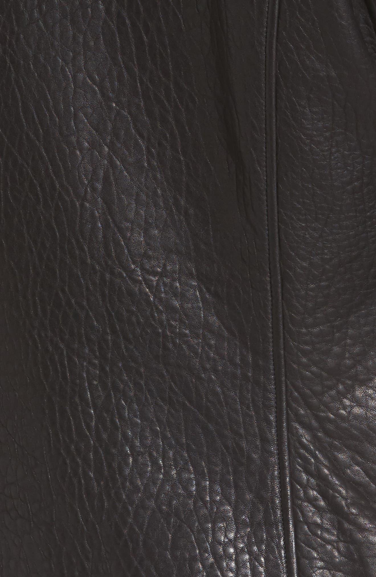 Leather Jacket,                             Alternate thumbnail 5, color,                             001