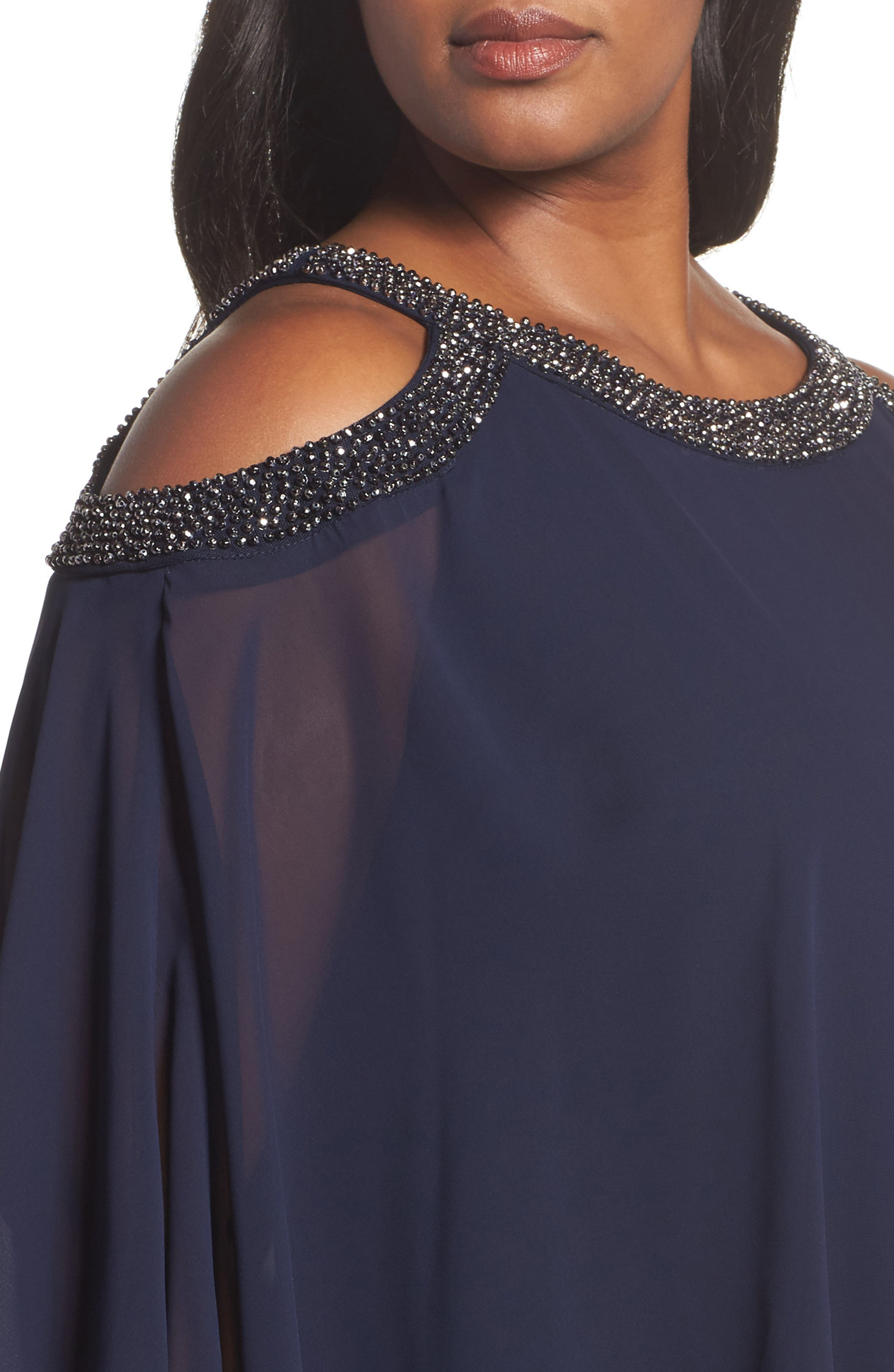 Chiffon Overlay Dress,                             Alternate thumbnail 4, color,                             498