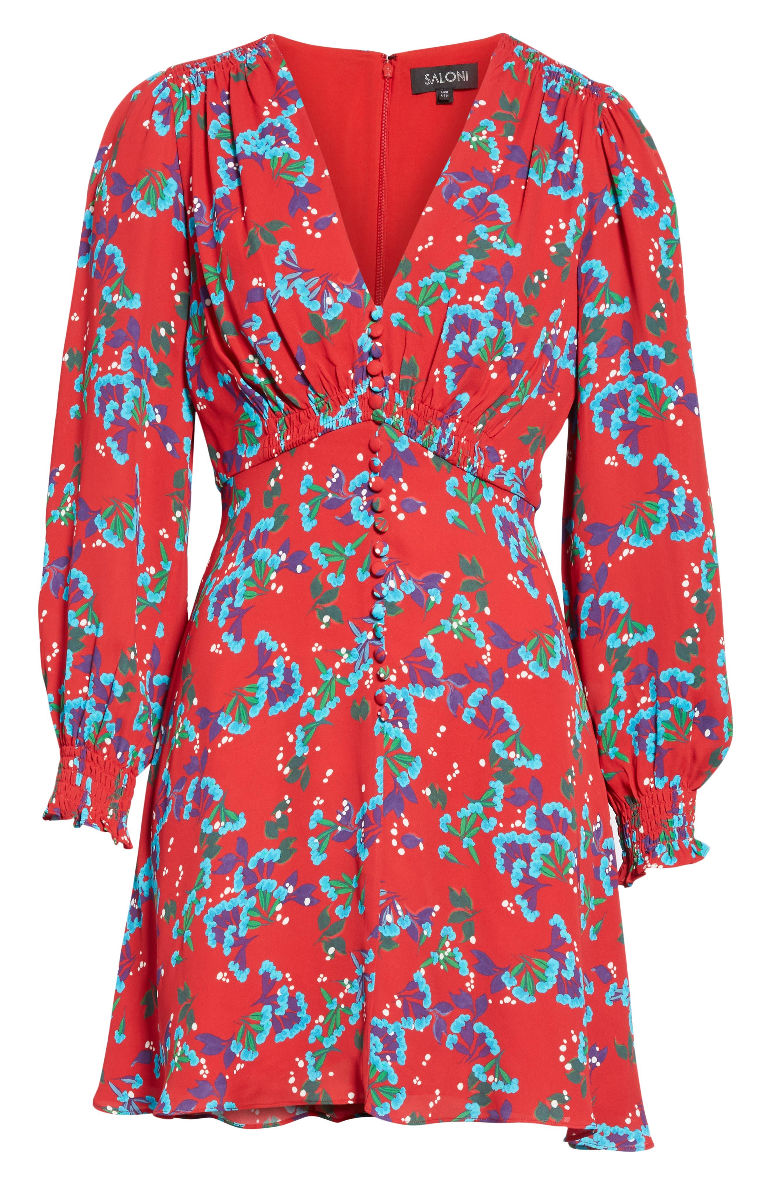 Eve Floral Print Dress,                             Alternate thumbnail 6, color,                             SCARLET SWEETPEAS