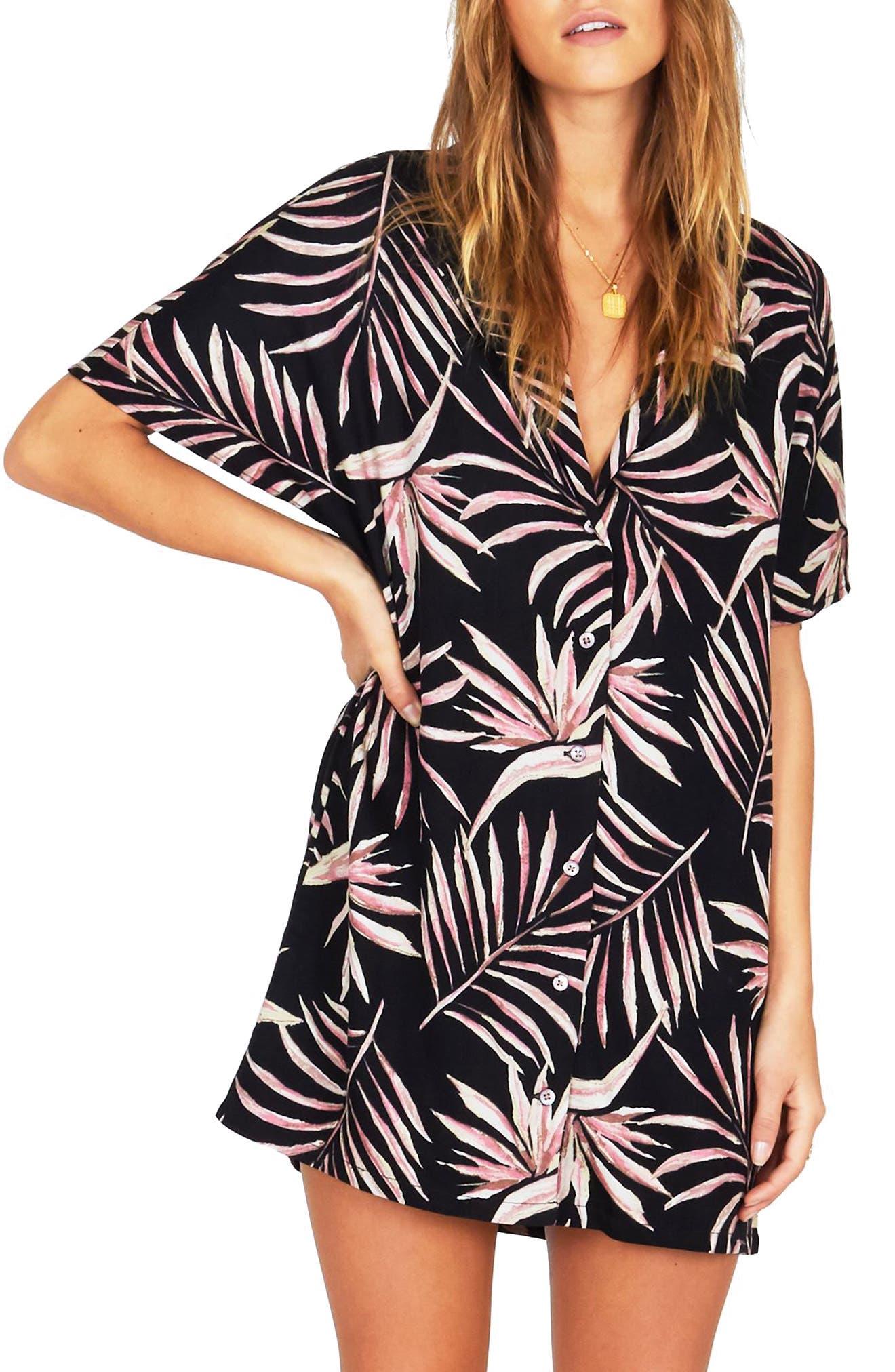 Bird in Paradise Shirtdress,                         Main,                         color, BLACK