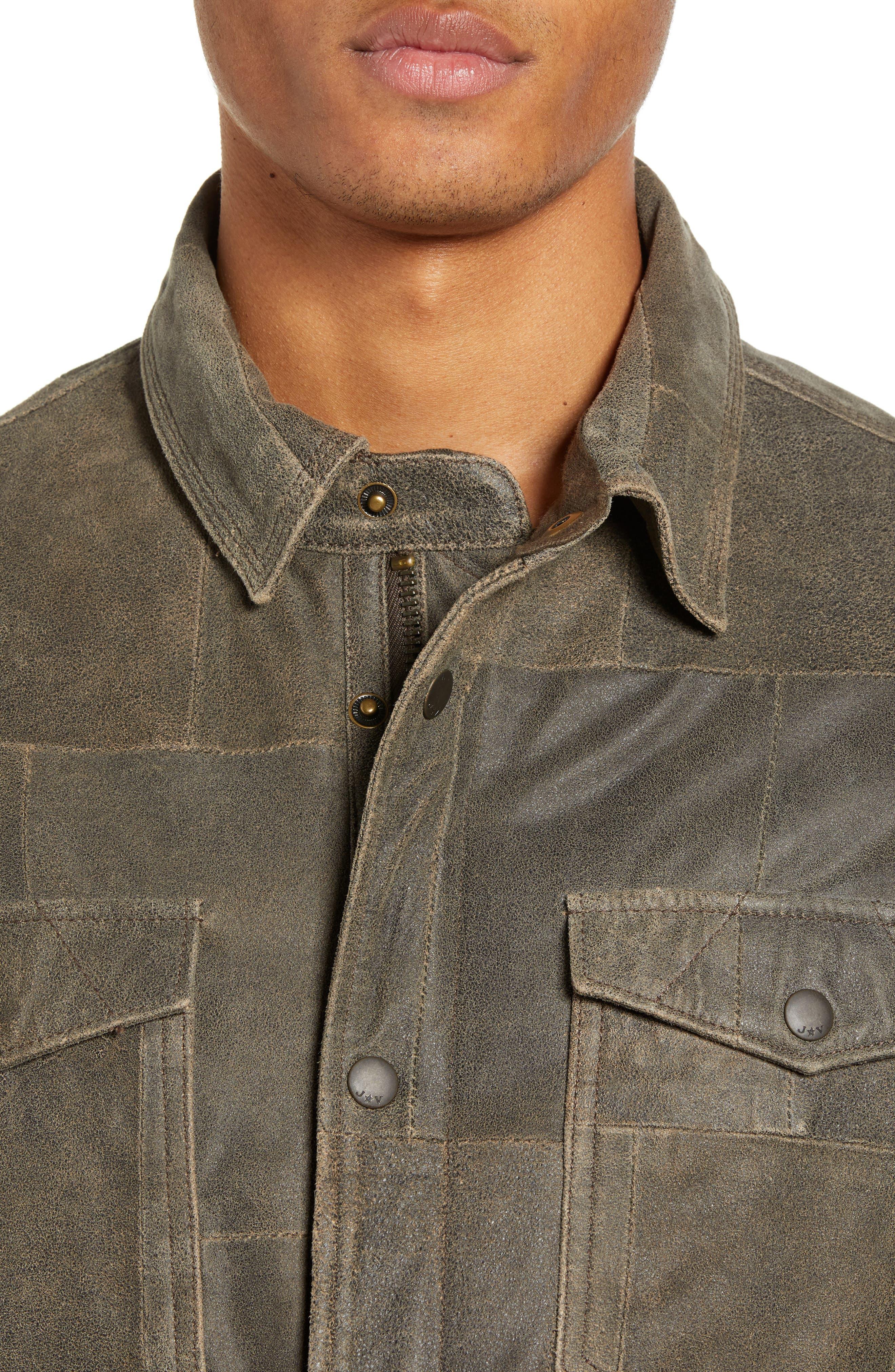 JOHN VARVATOS STAR USA,                             Patchwork Goat Leather Jacket,                             Alternate thumbnail 4, color,                             RYE