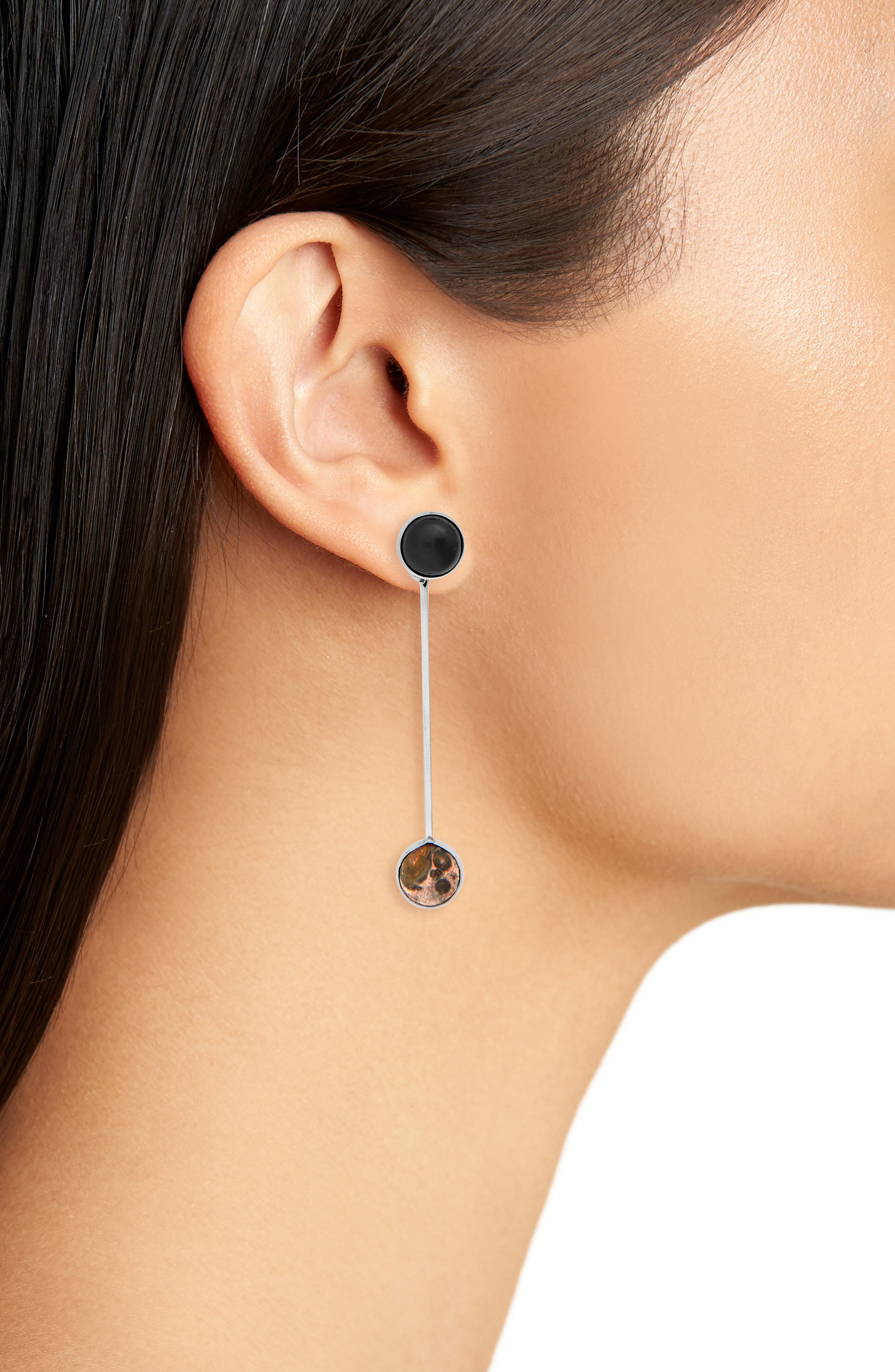 Sway Earring,                             Alternate thumbnail 2, color,                             ONYX/ LEOPARD