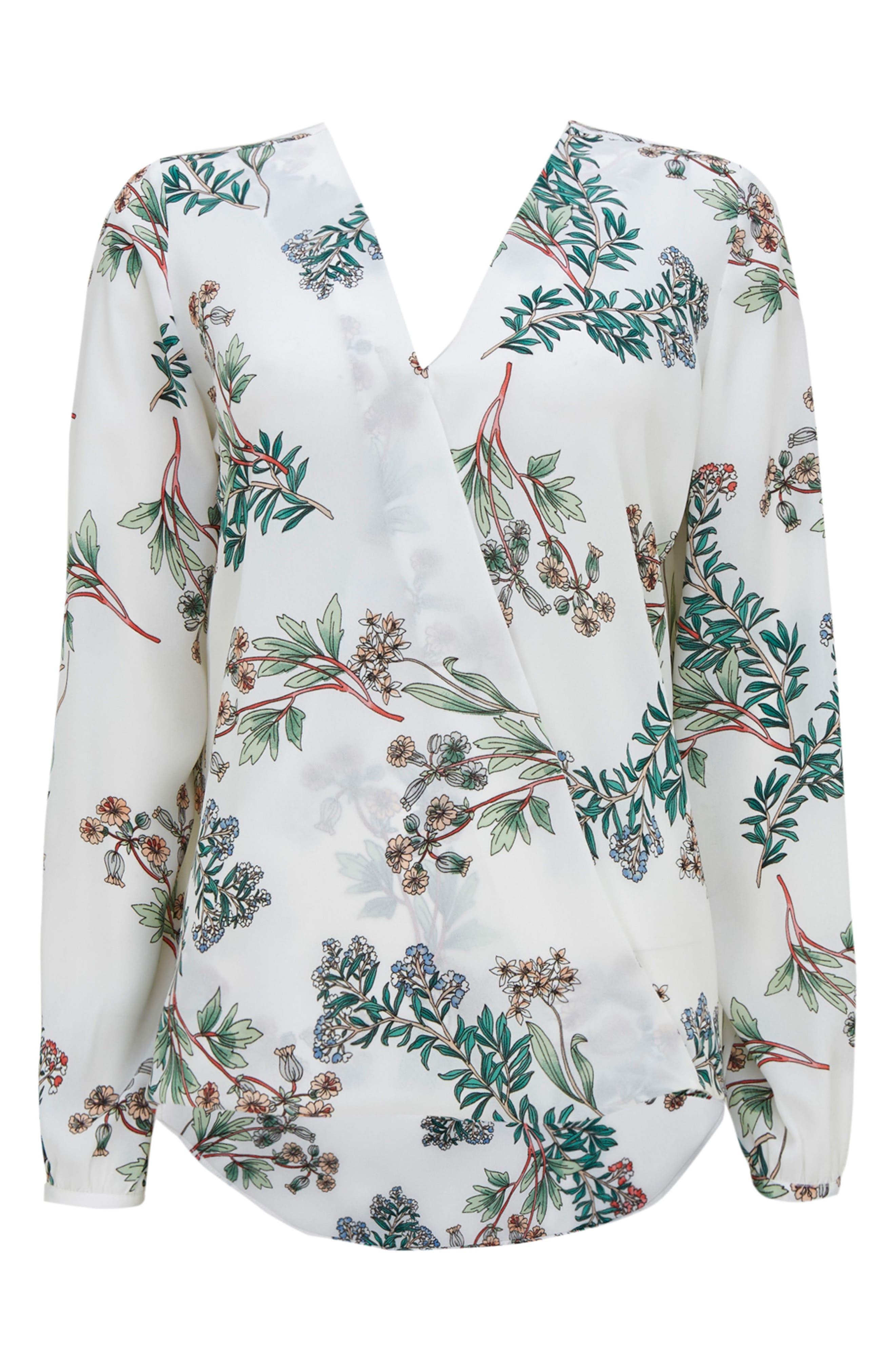 Floral Print Wrap Blouse,                             Alternate thumbnail 4, color,                             900