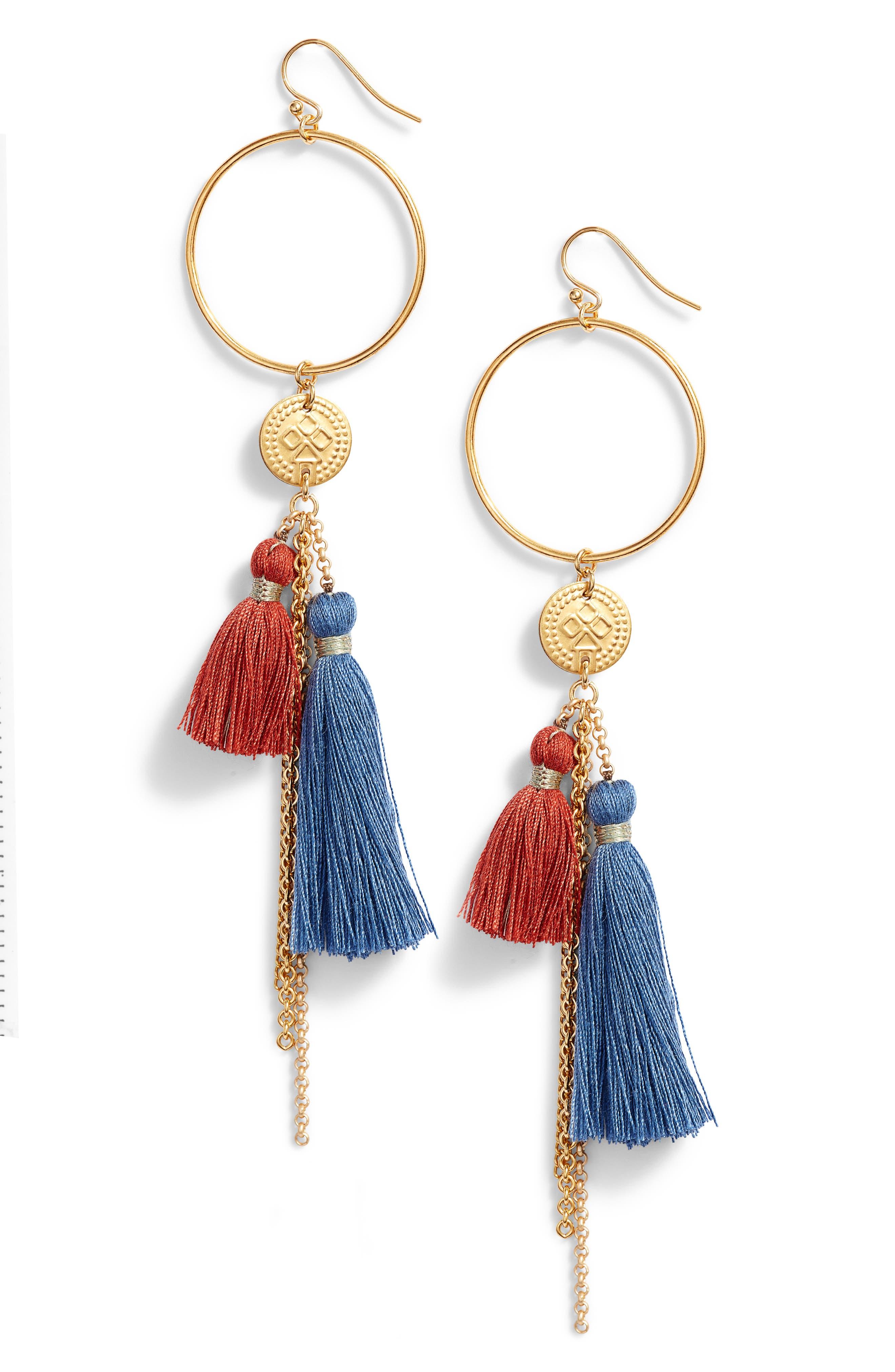 Hoop & Tassel Earrings,                             Main thumbnail 1, color,                             BLUE MIX