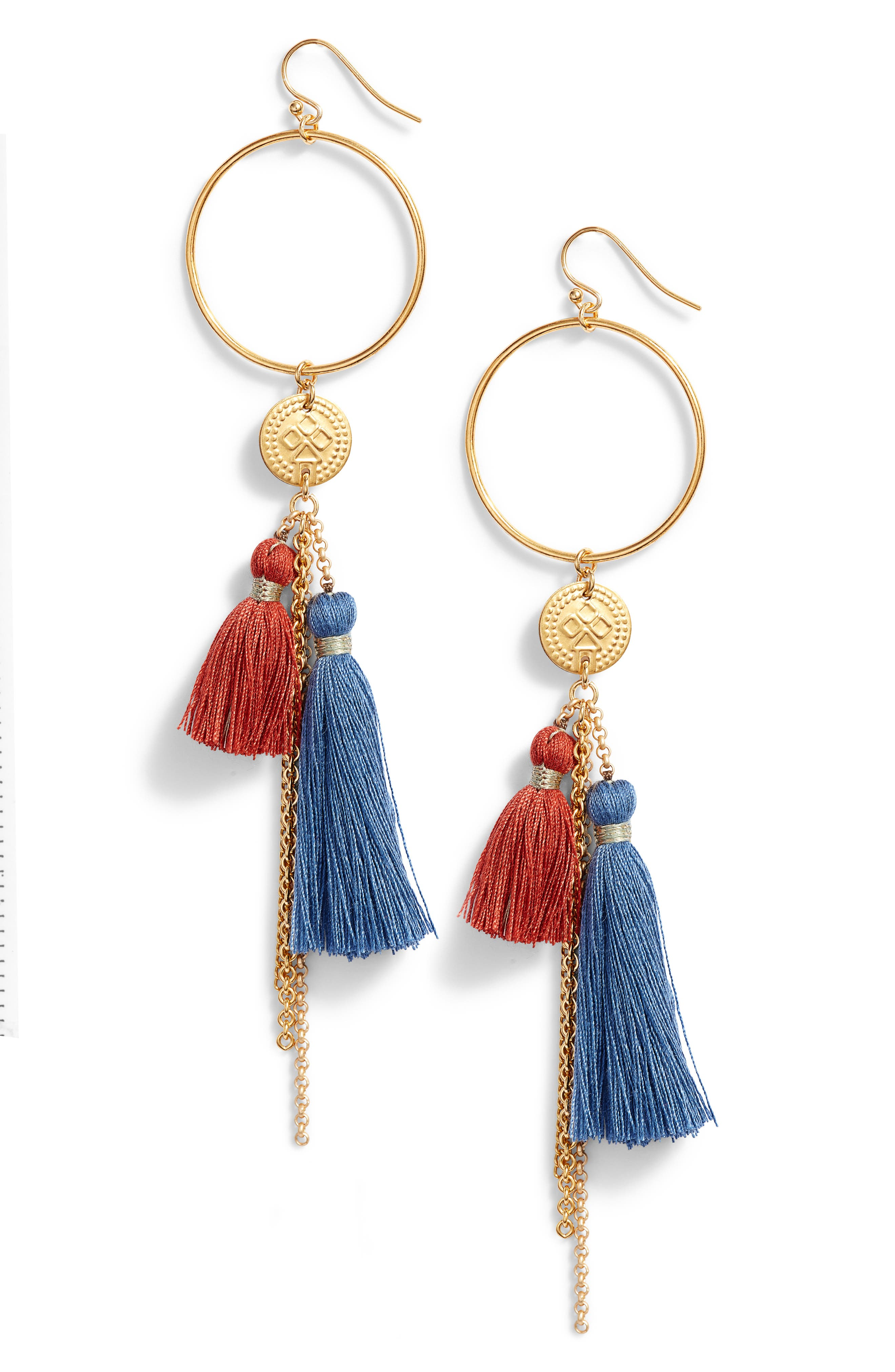 Hoop & Tassel Earrings,                         Main,                         color, BLUE MIX