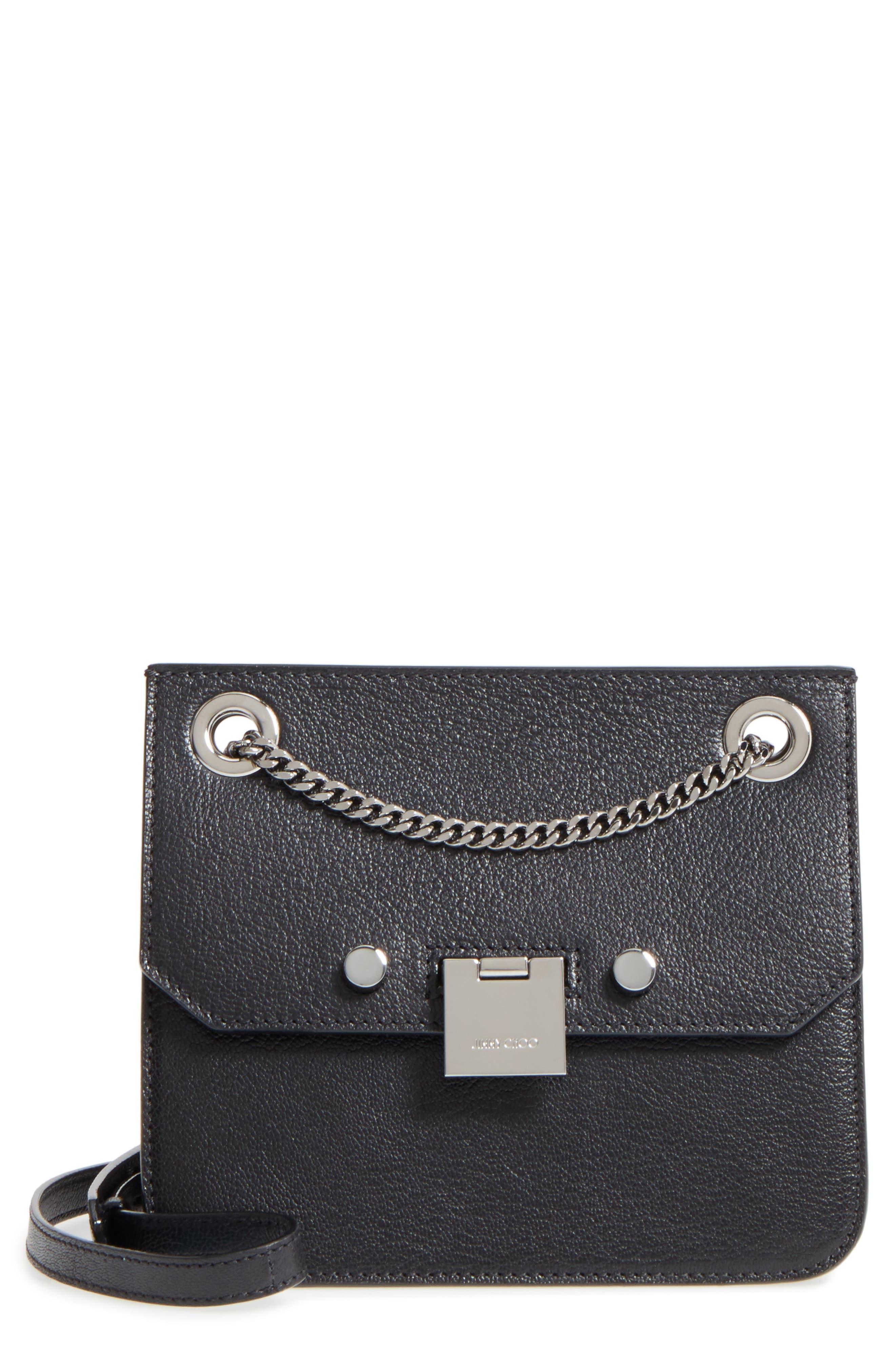 Rebel Leather Crossbody Bag,                         Main,                         color, BLACK/ GUNMETAL
