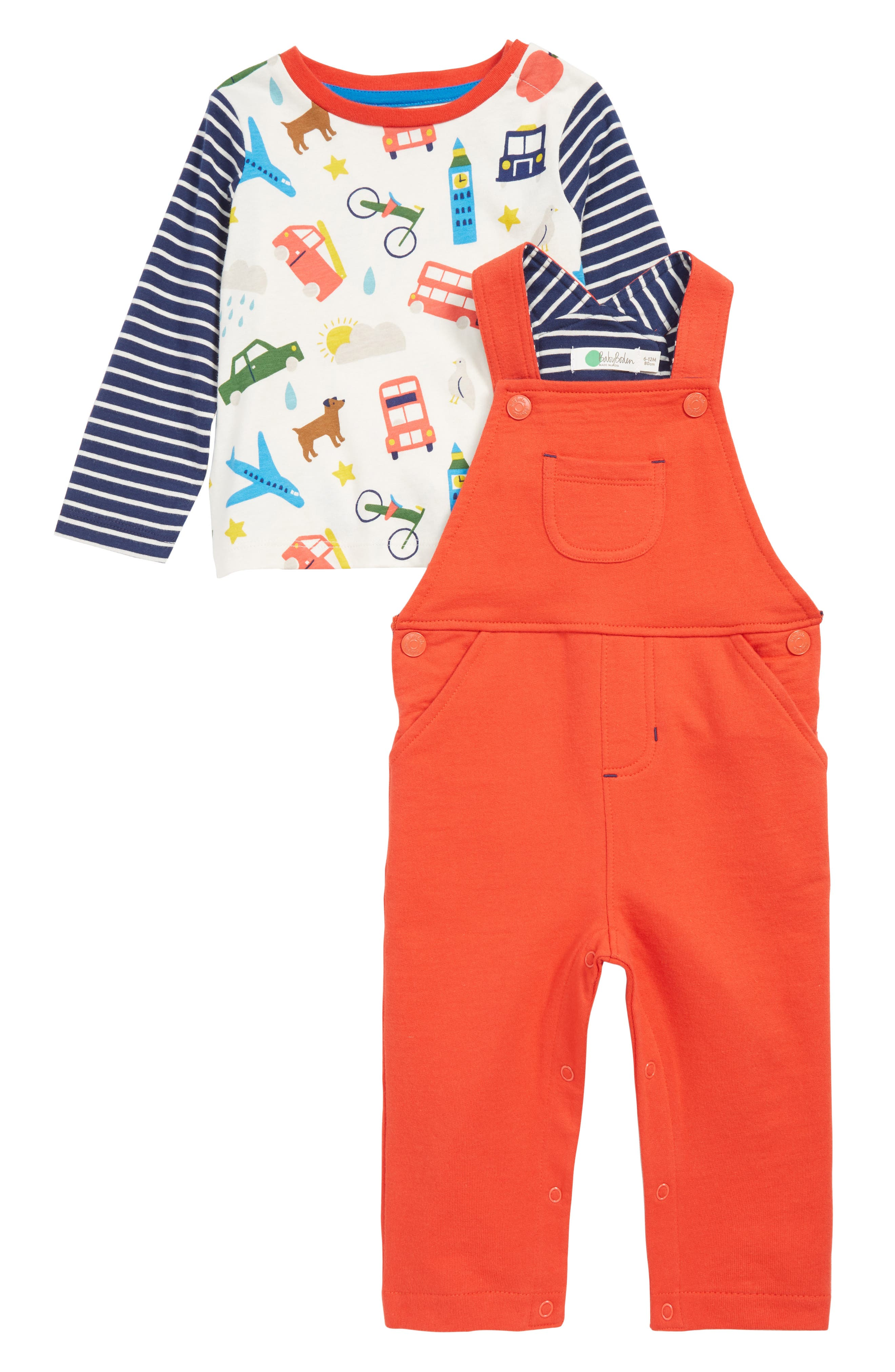 MINI BODEN Fun Dungaree Play T-Shirt & Overalls Set, Main, color, RED BEAM RED