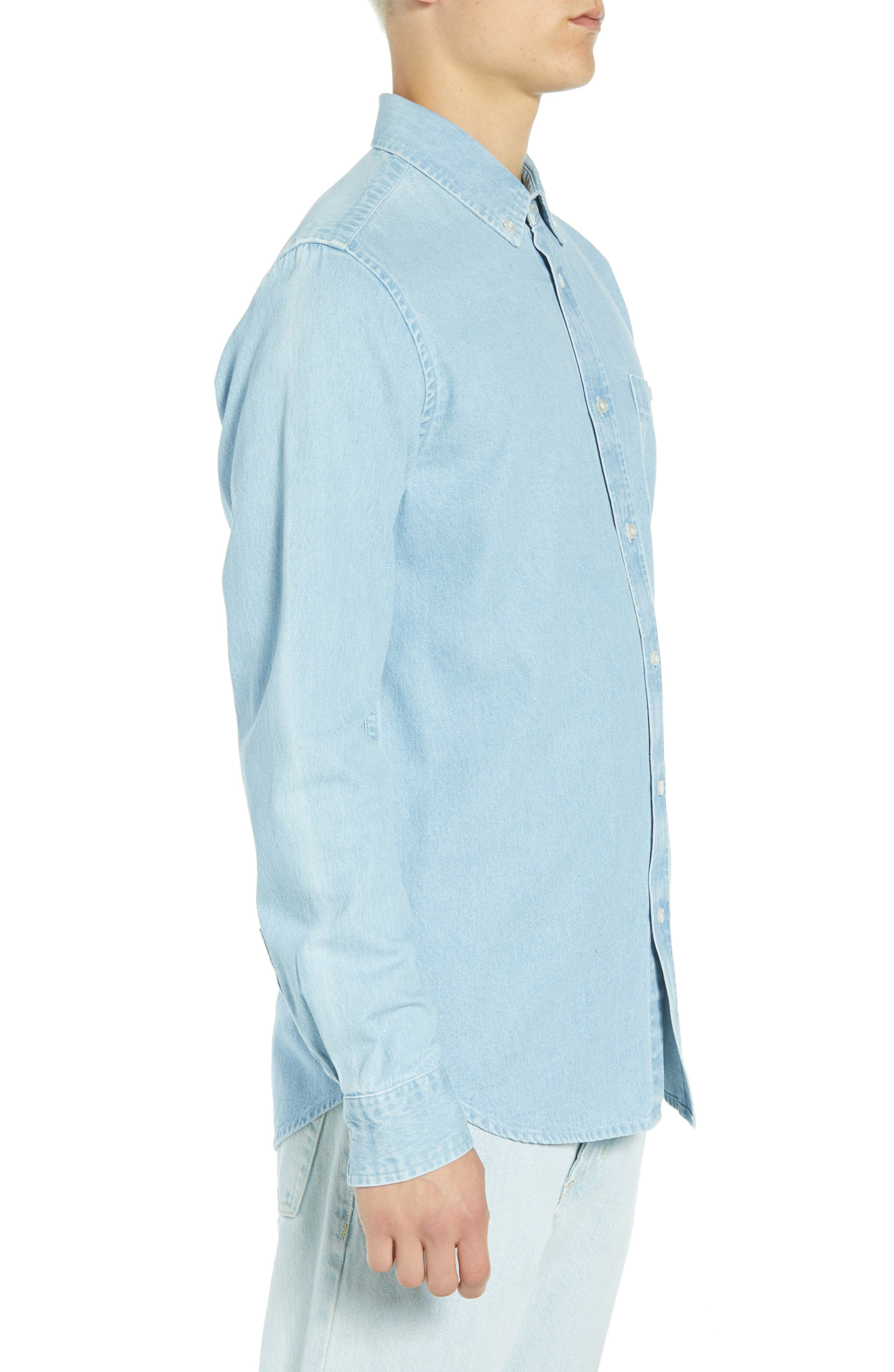 Keble Chambray Shirt,                             Alternate thumbnail 4, color,                             BLUE