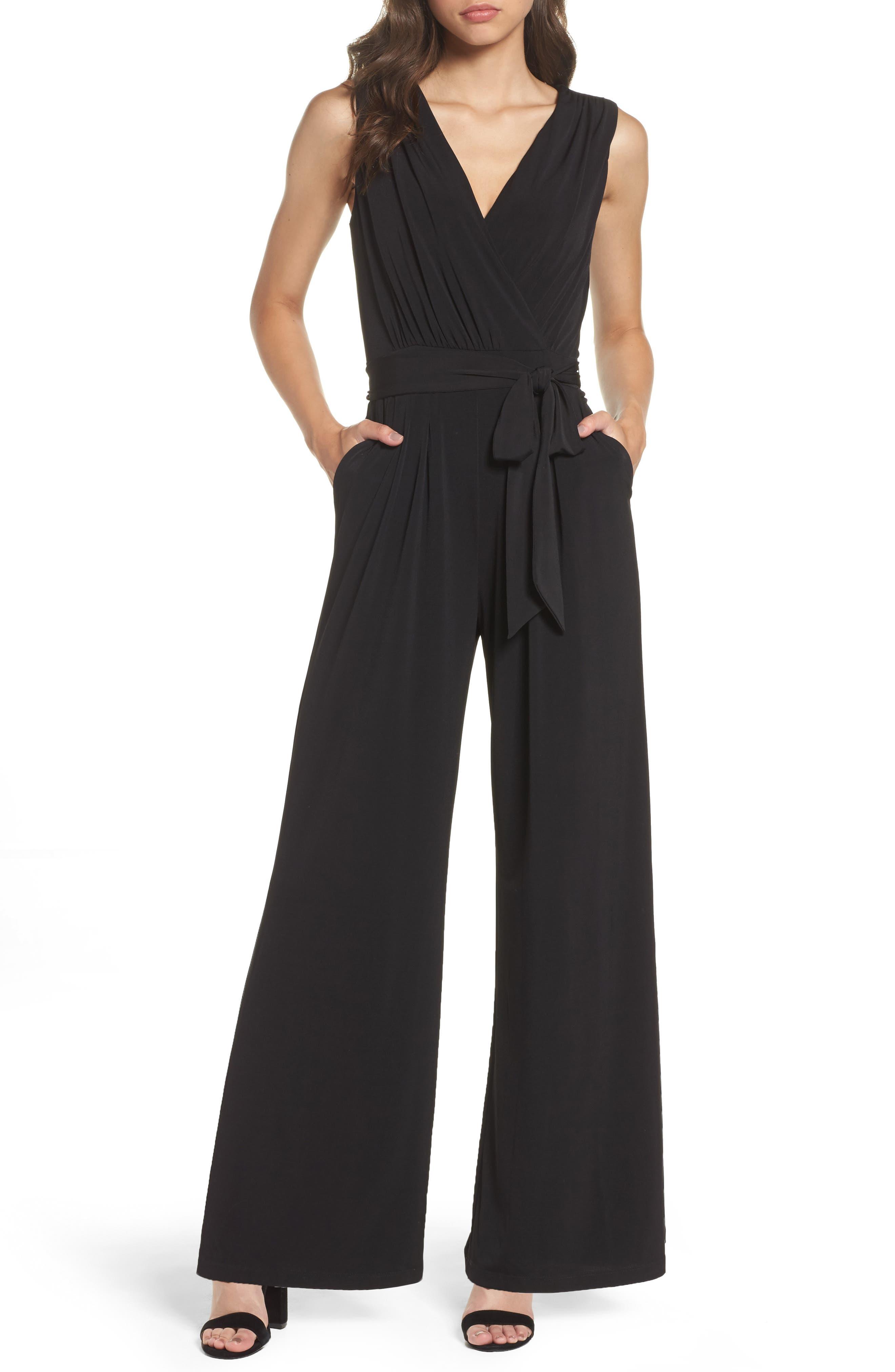 Faux Wrap Jersey Jumpsuit,                             Main thumbnail 1, color,                             BLACK