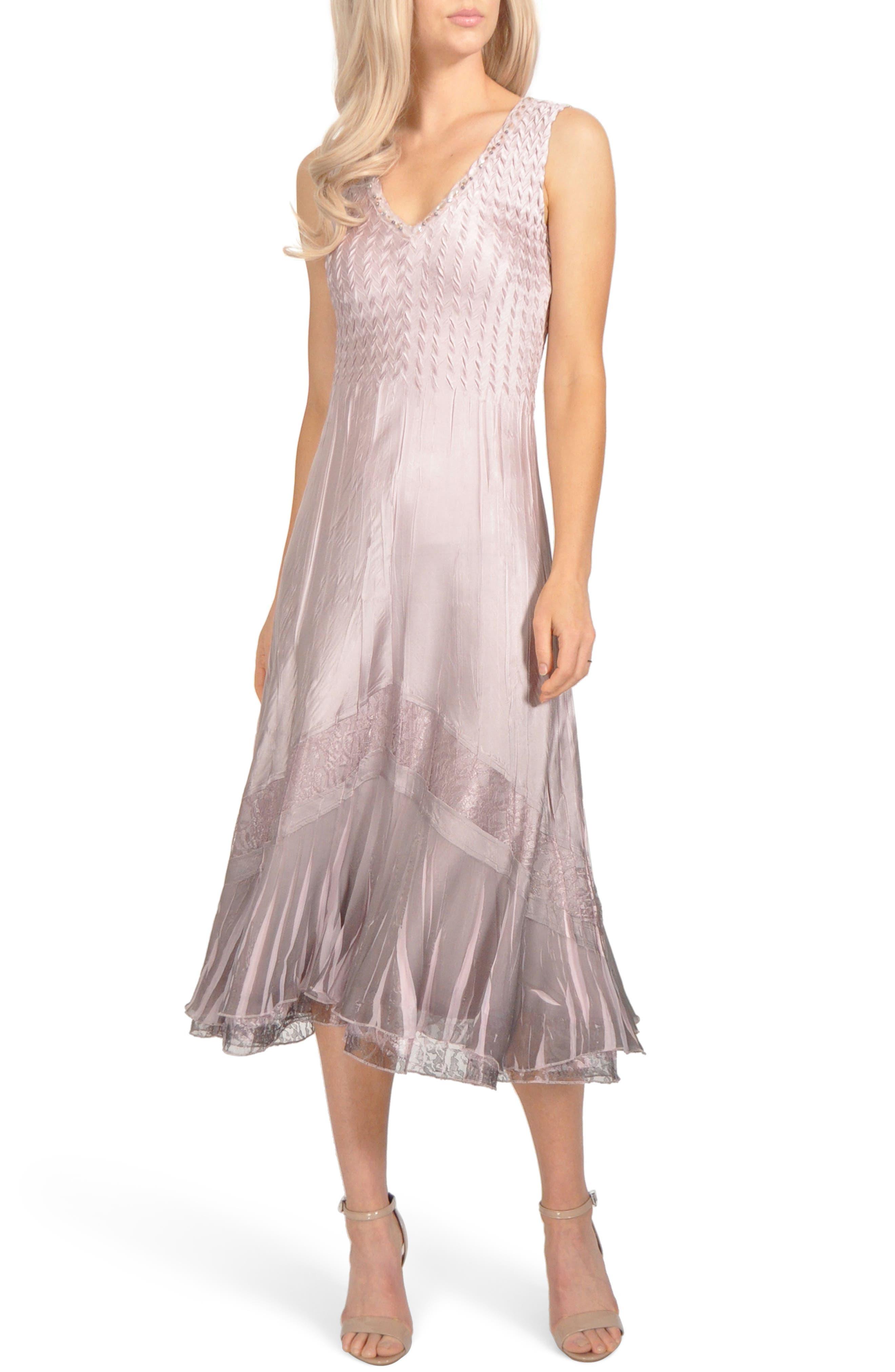 Komarov Lace Inset Charmeuse Dress With Jacket, Pink