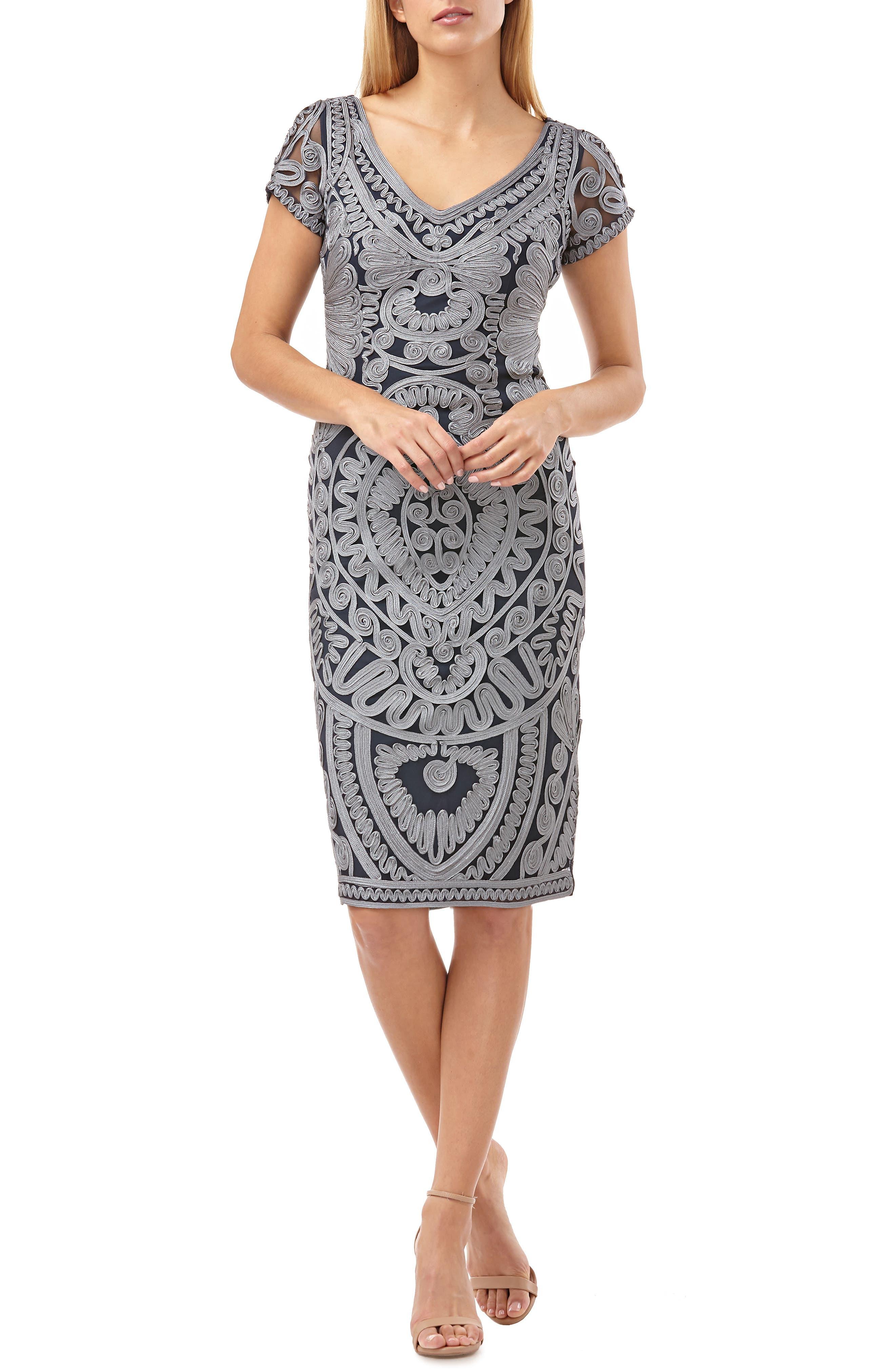Js Collections Short Sleeve Soutache Mesh Cocktail Dress, Blue