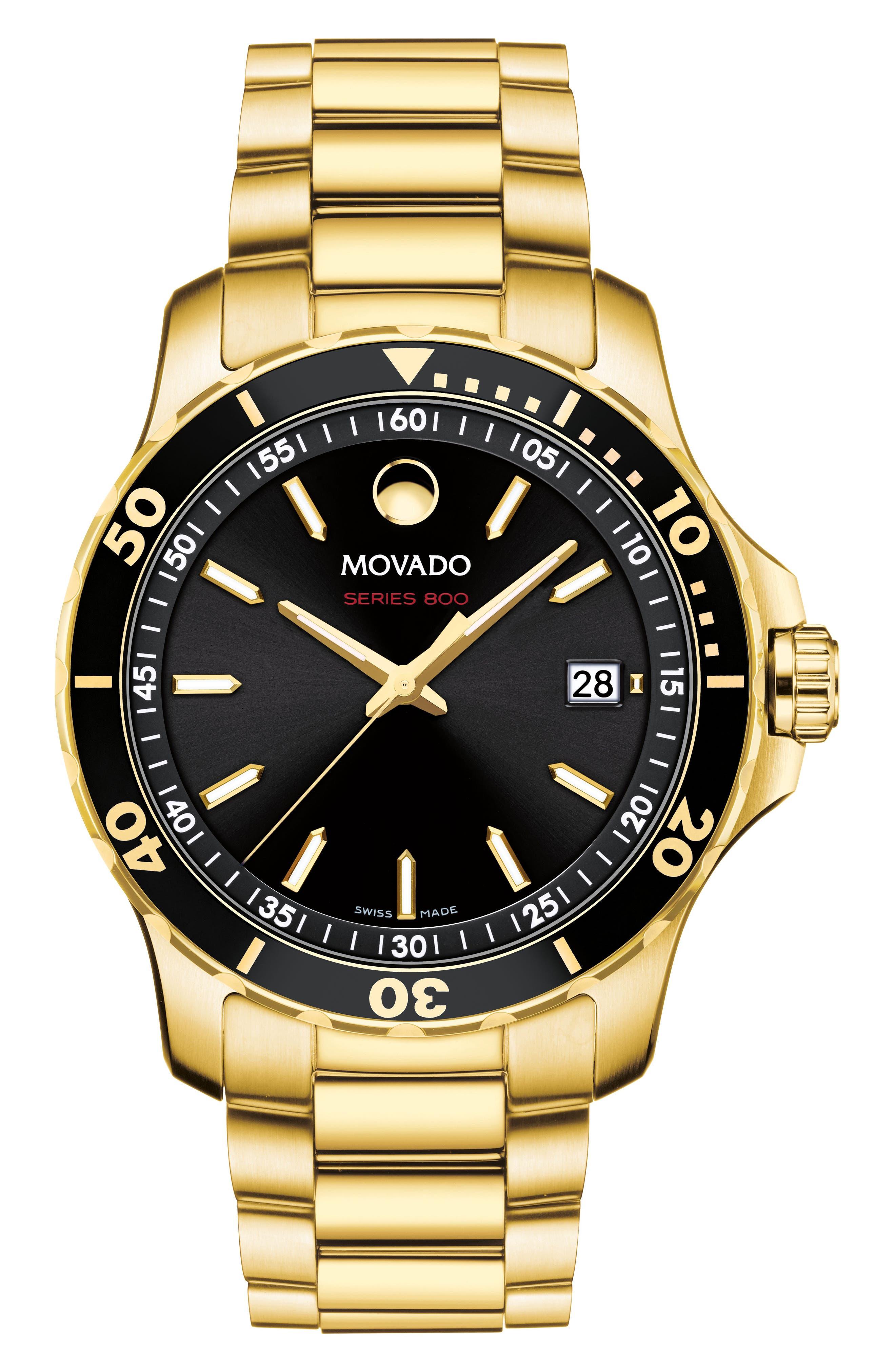 Series 800 Bracelet Watch, 40mm,                         Main,                         color, GOLD/ BLACK/ GOLD