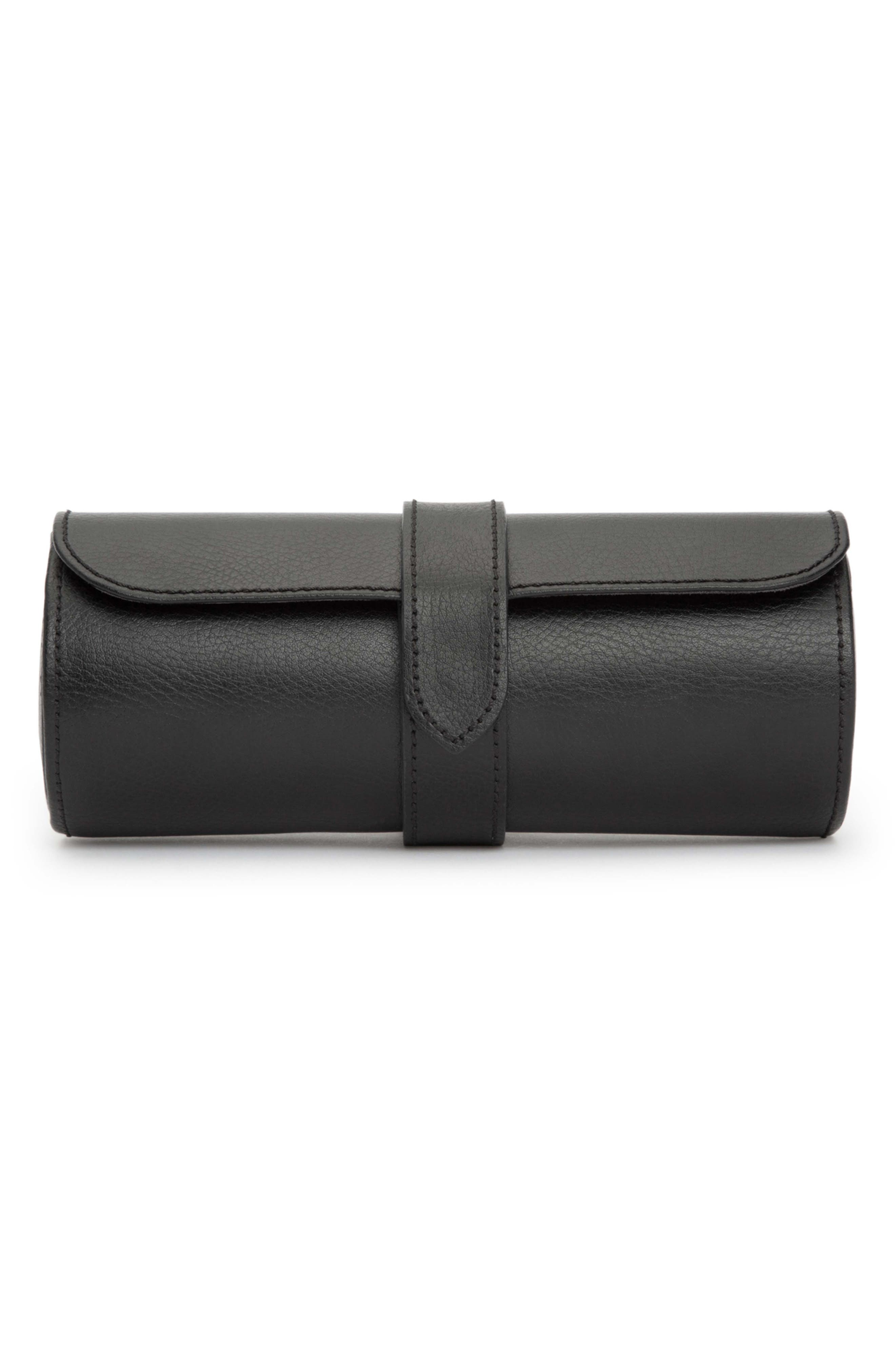 Black Leather Watch Roll,                         Main,                         color, BLACK