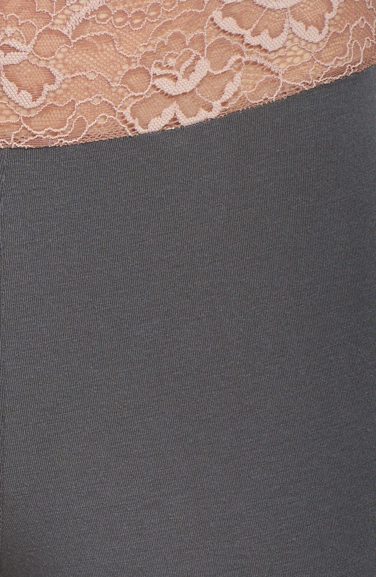 Lace Trim Pants,                             Alternate thumbnail 5, color,                             SLATE WITH JAVA LACE