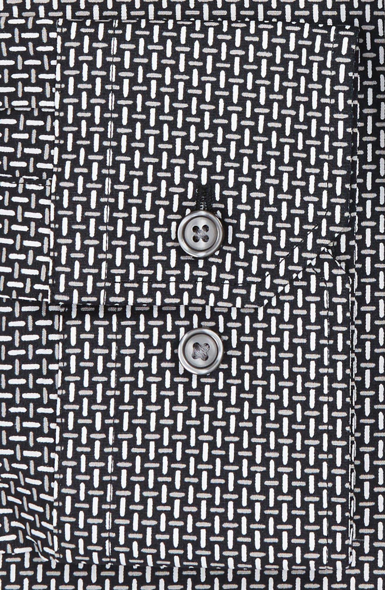 Trim Fit Non-Iron Graphic Stretch Dress Shirt,                             Alternate thumbnail 3, color,                             001