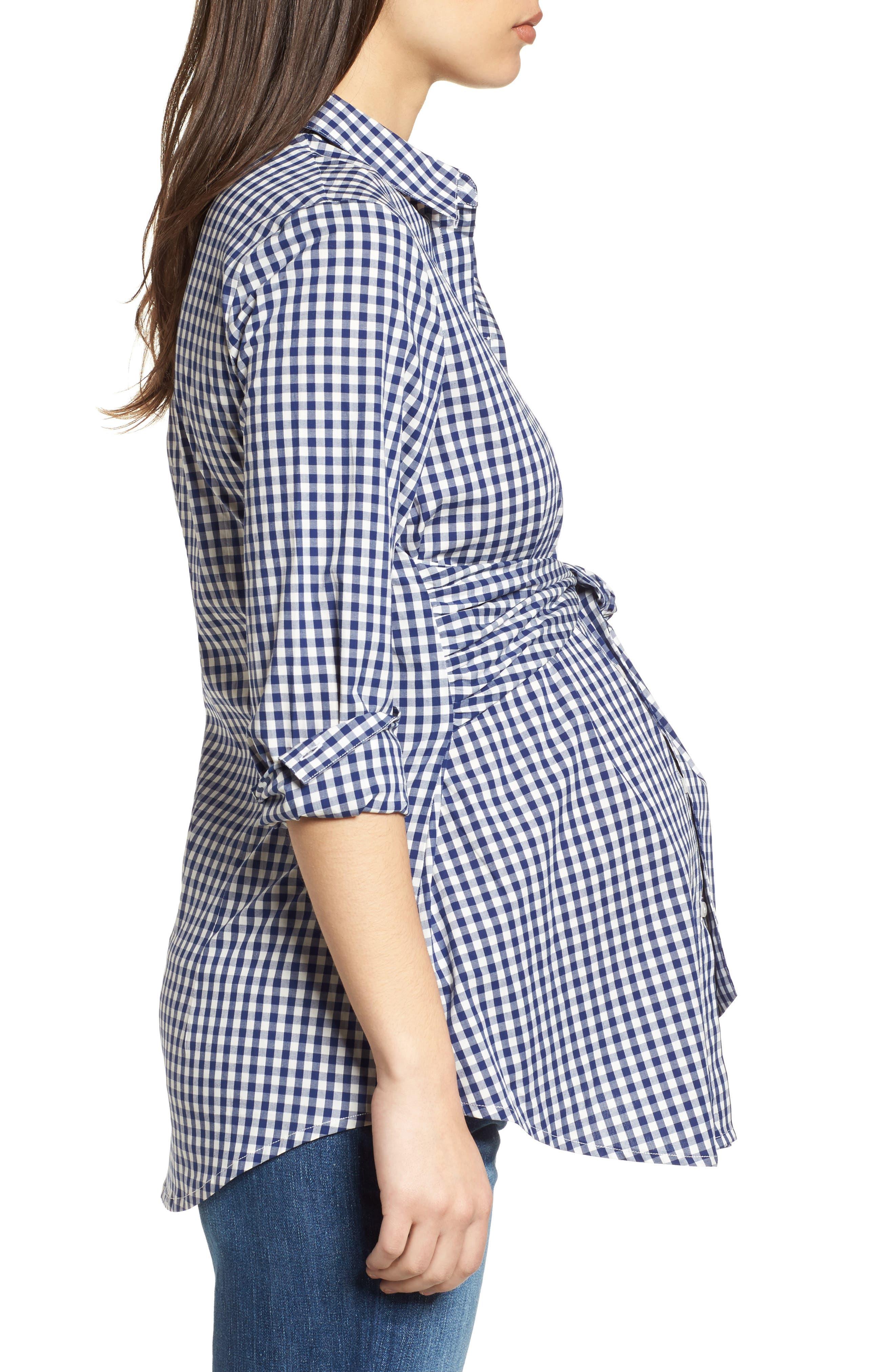 Lindsay Check Maternity Shirt,                             Alternate thumbnail 3, color,                             BLUE GINGHAM
