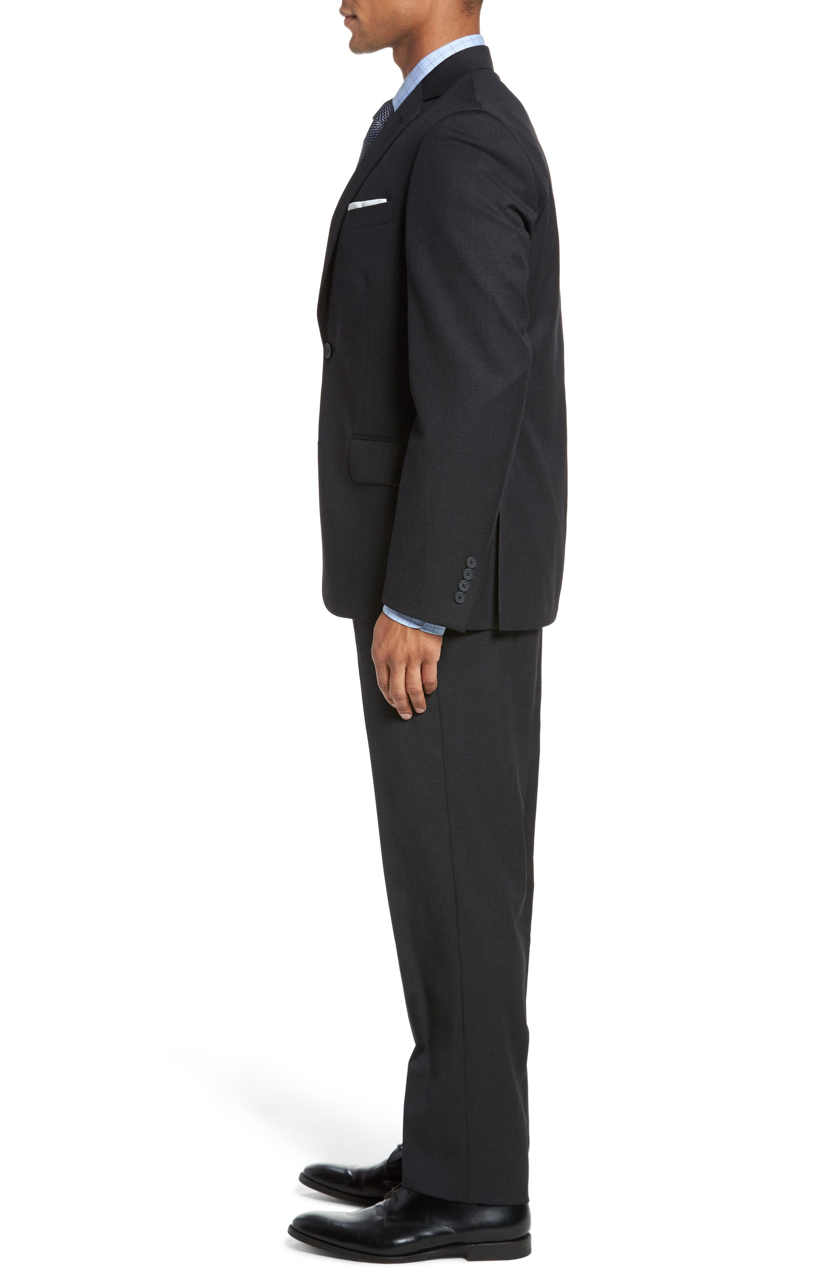 Classic Fit Check Wool Suit,                             Alternate thumbnail 3, color,                             001