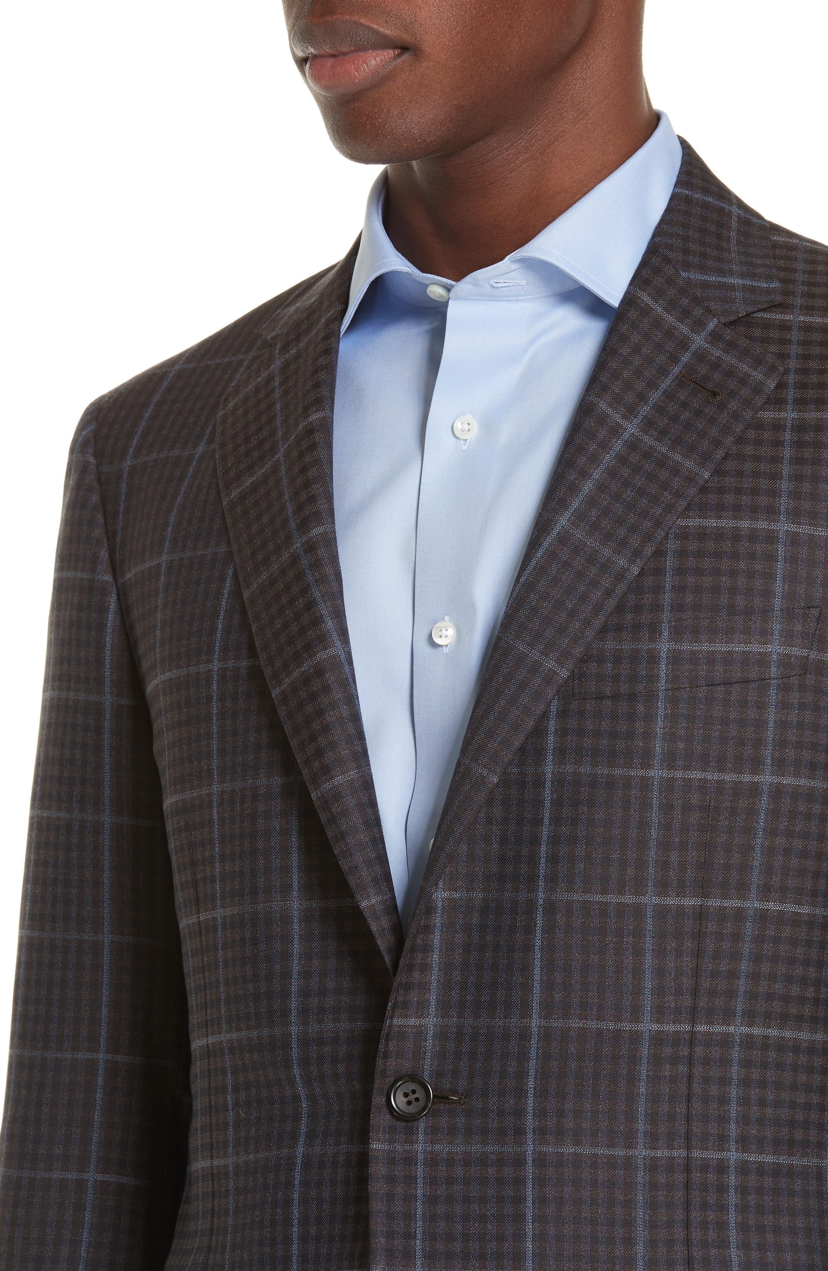 Classic Fit Plaid Wool Sport Coat,                             Alternate thumbnail 4, color,                             BROWN