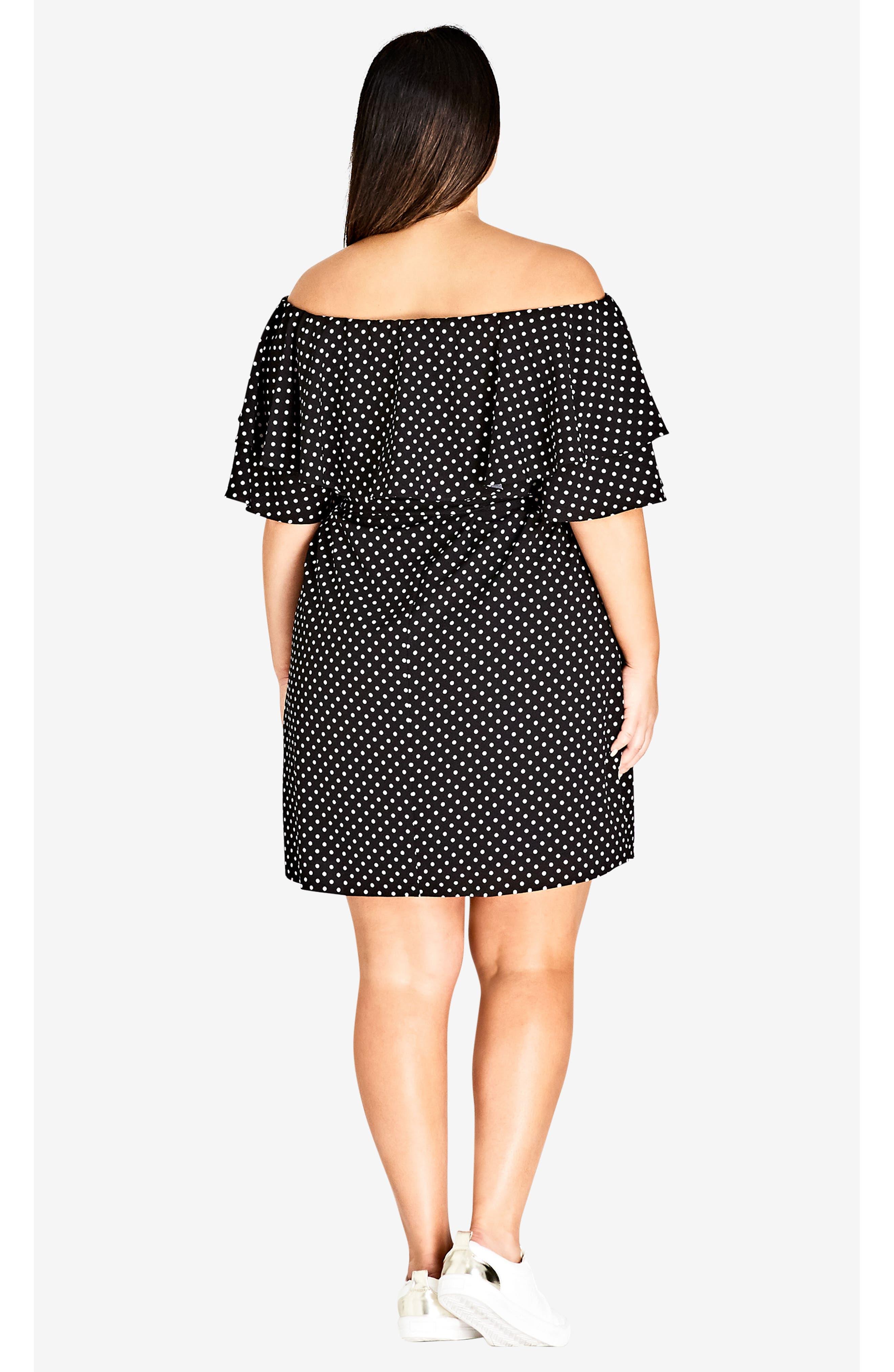 Flutter Sleeve Print Off the Shoulder Dress,                             Alternate thumbnail 6, color,                             SPOT