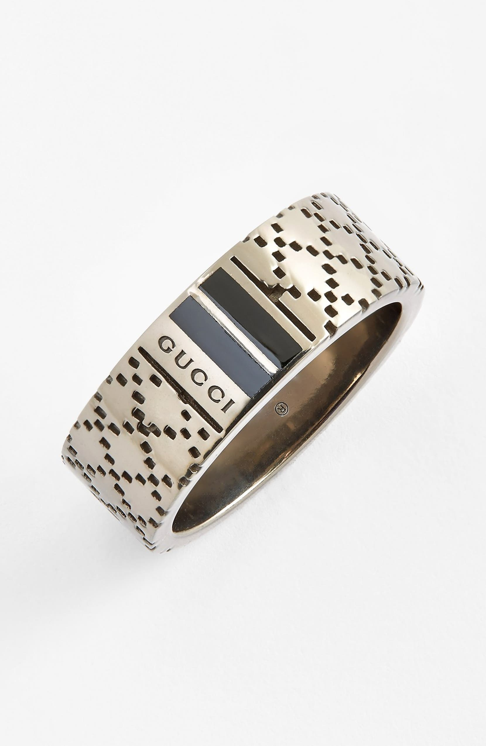 bda115570f006 Gucci Diamantissima Sterling Silver Ring Only Nordstrom. Lyst Gucci Aged  Sterling Silver And Enamel Diamantissima Motif ...