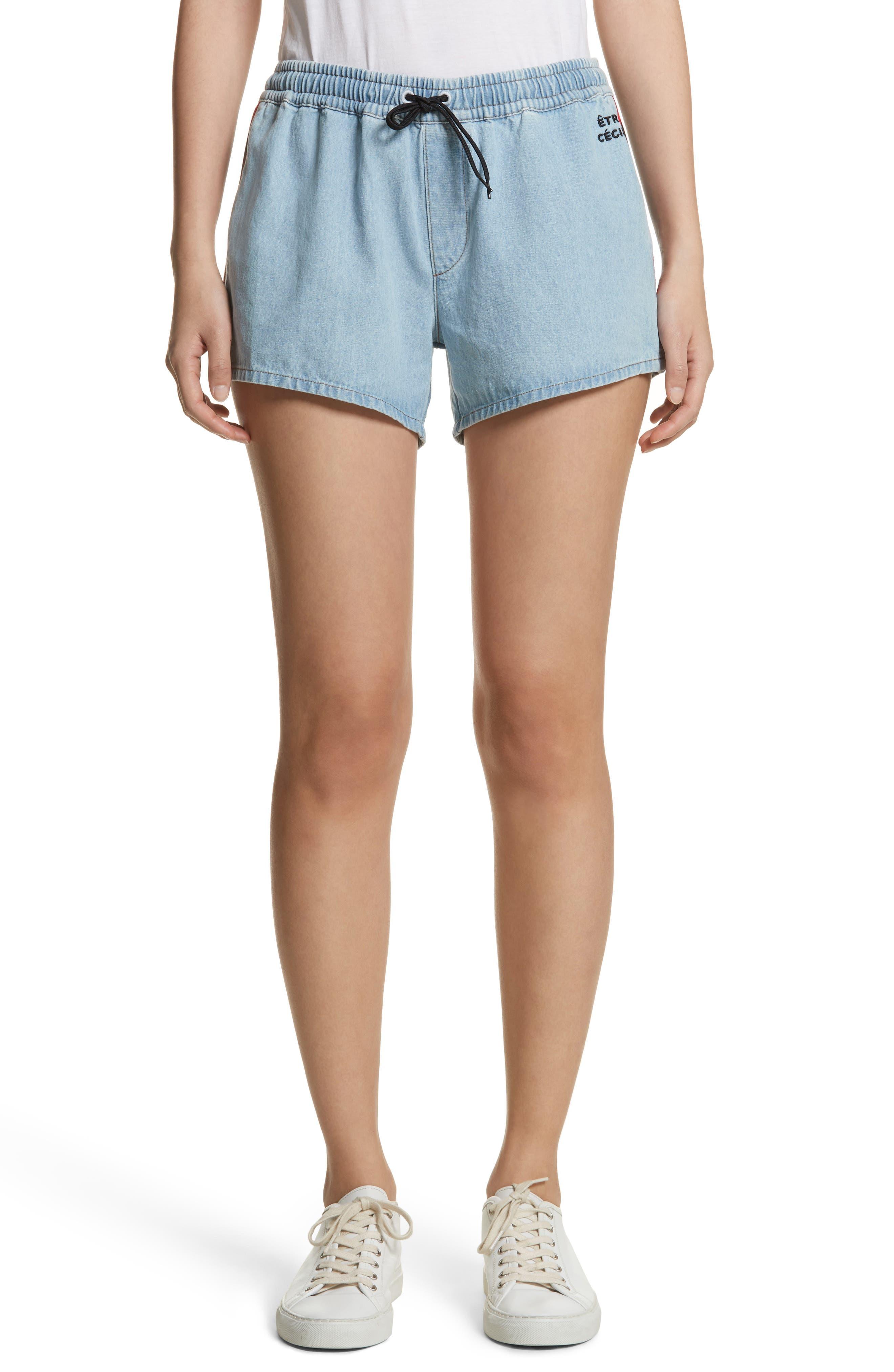 être cécile Rib Retro Shorts,                         Main,                         color, LIGHT BLUE