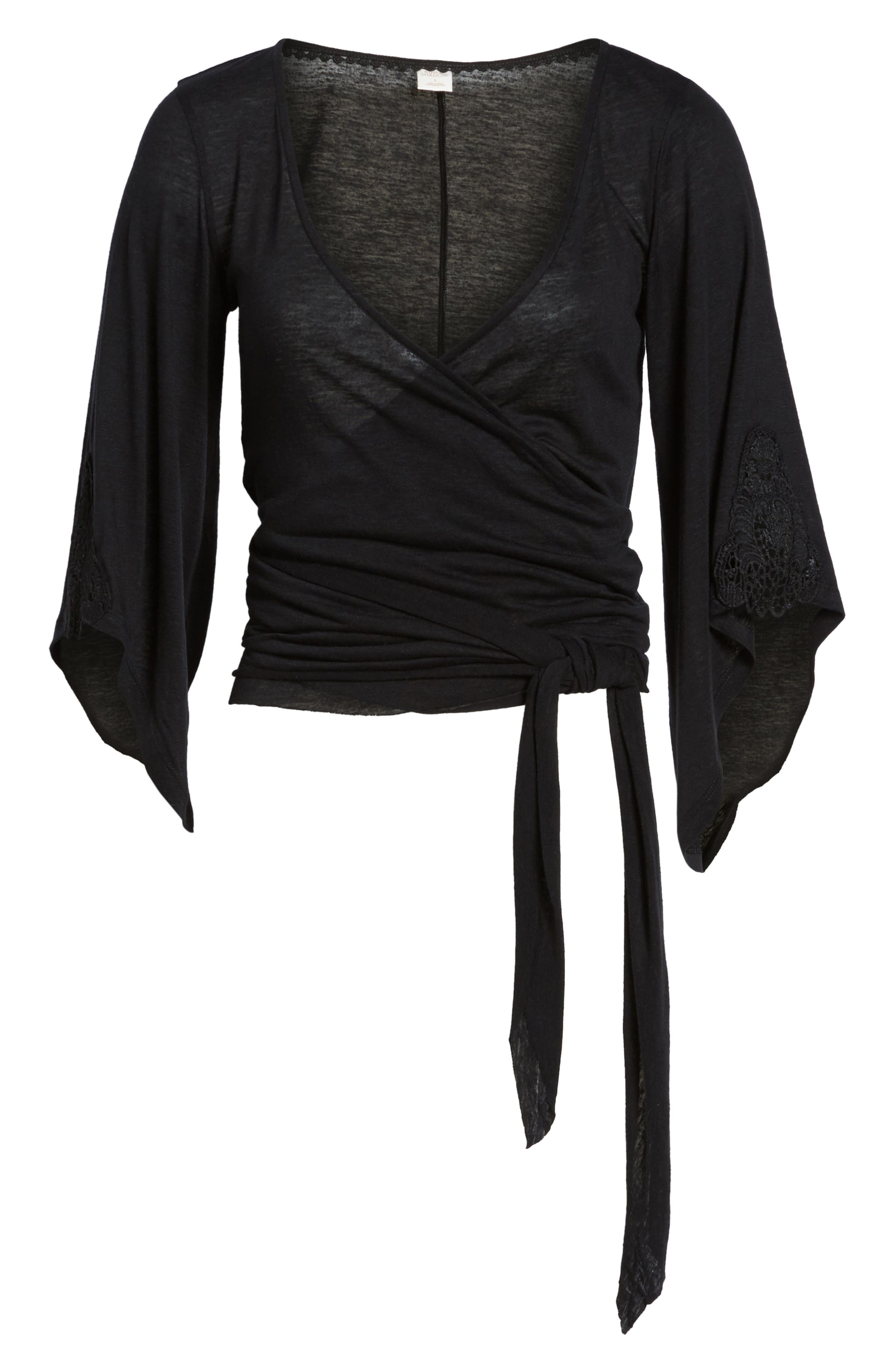 Bell Sleeve Wrap Top,                             Alternate thumbnail 6, color,                             001
