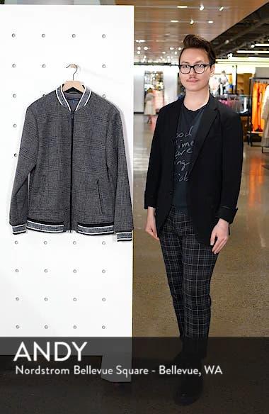 Slim Fit Plaid Knit Bomber Jacket, sales video thumbnail