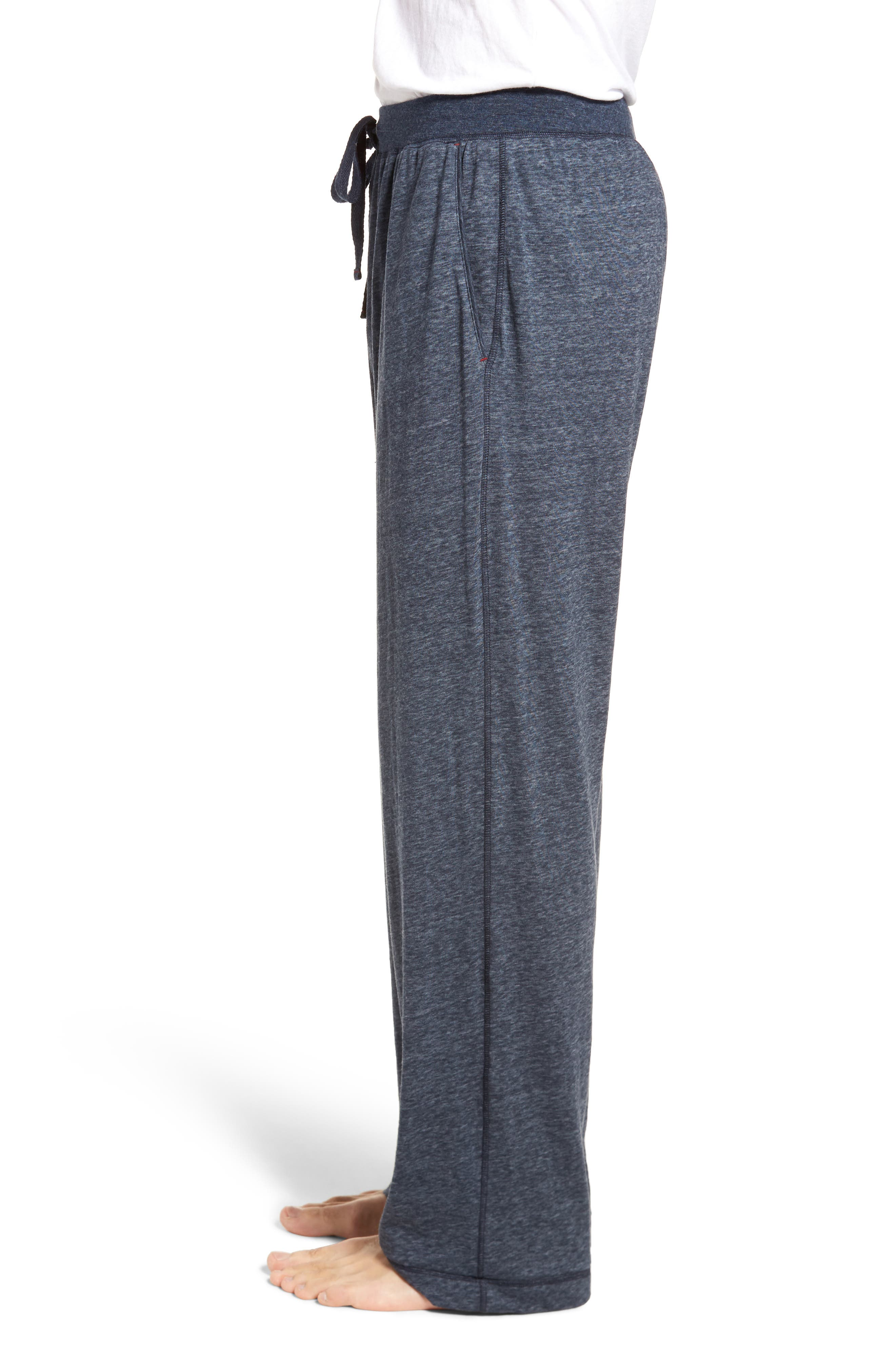 Recycled Cotton Blend Lounge Pants,                             Alternate thumbnail 3, color,                             NAVY HEATHER