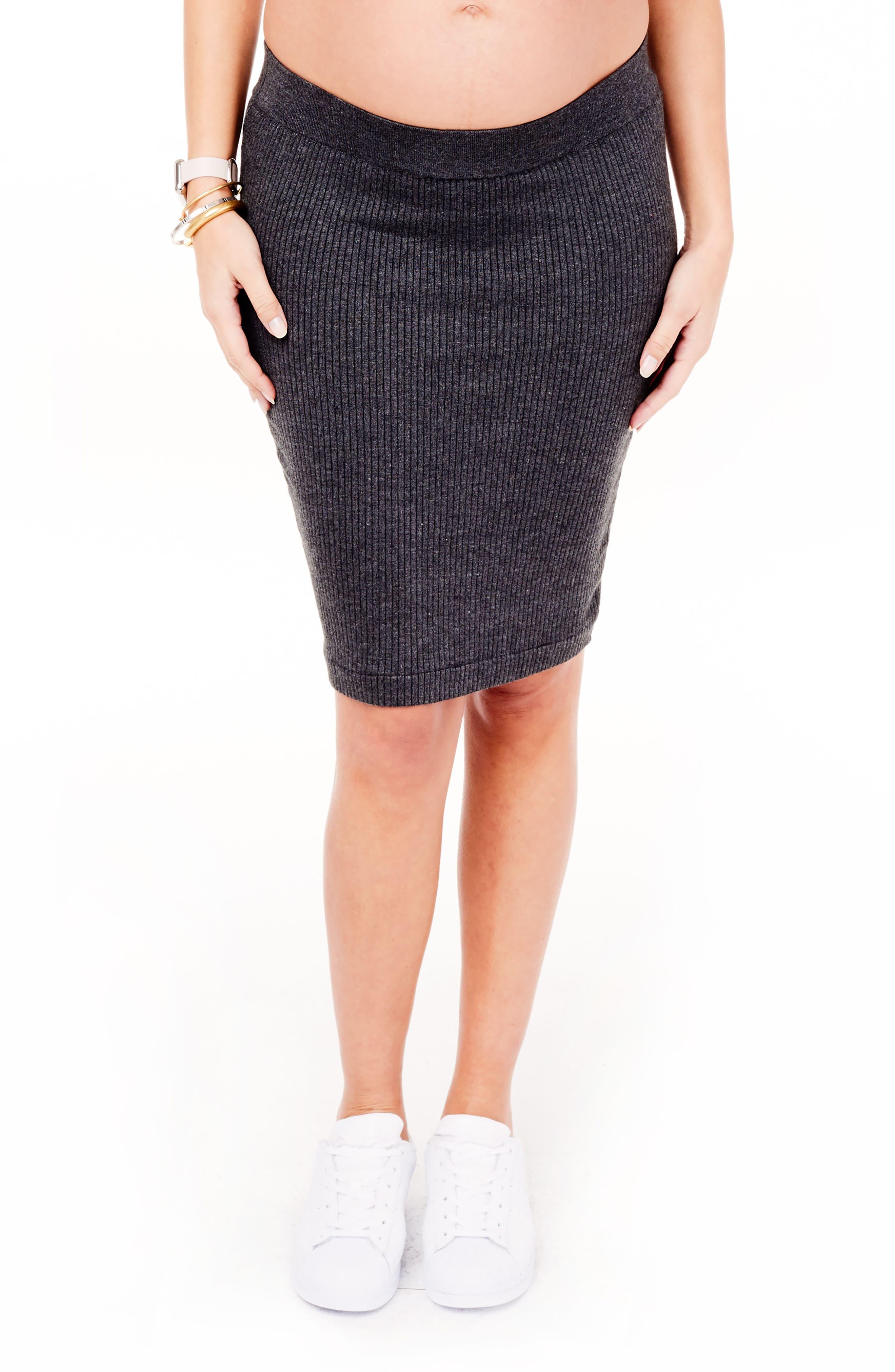 Ingrid & Isabel Ribbed Maternity Sweater Skirt,                         Main,                         color, MEDIUM GREY HEATHER
