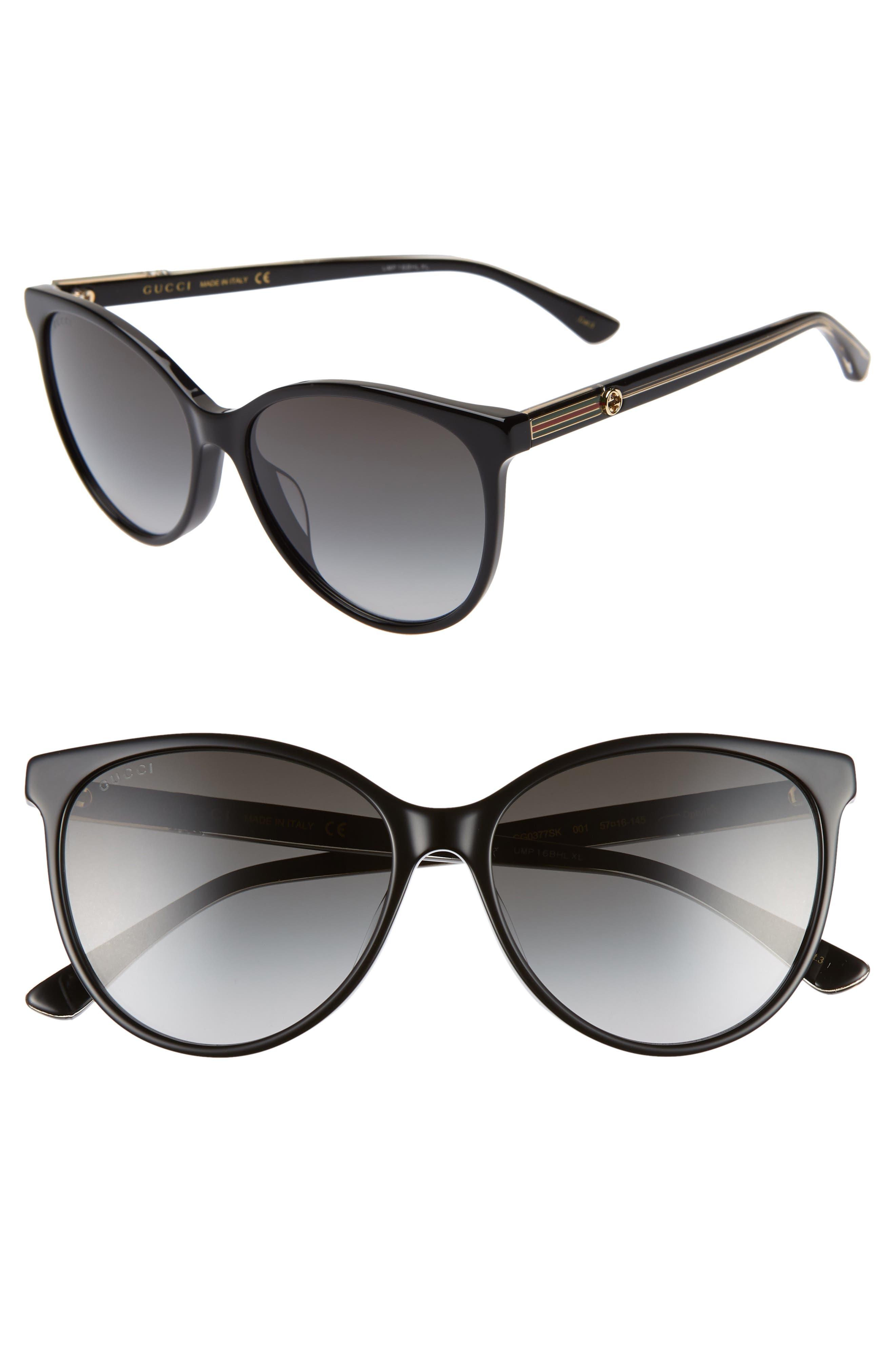 GUCCI,                             57mm Cat Eye Sunglasses,                             Main thumbnail 1, color,                             BLACK/ CRYSTAL/ GREY GRADIENT