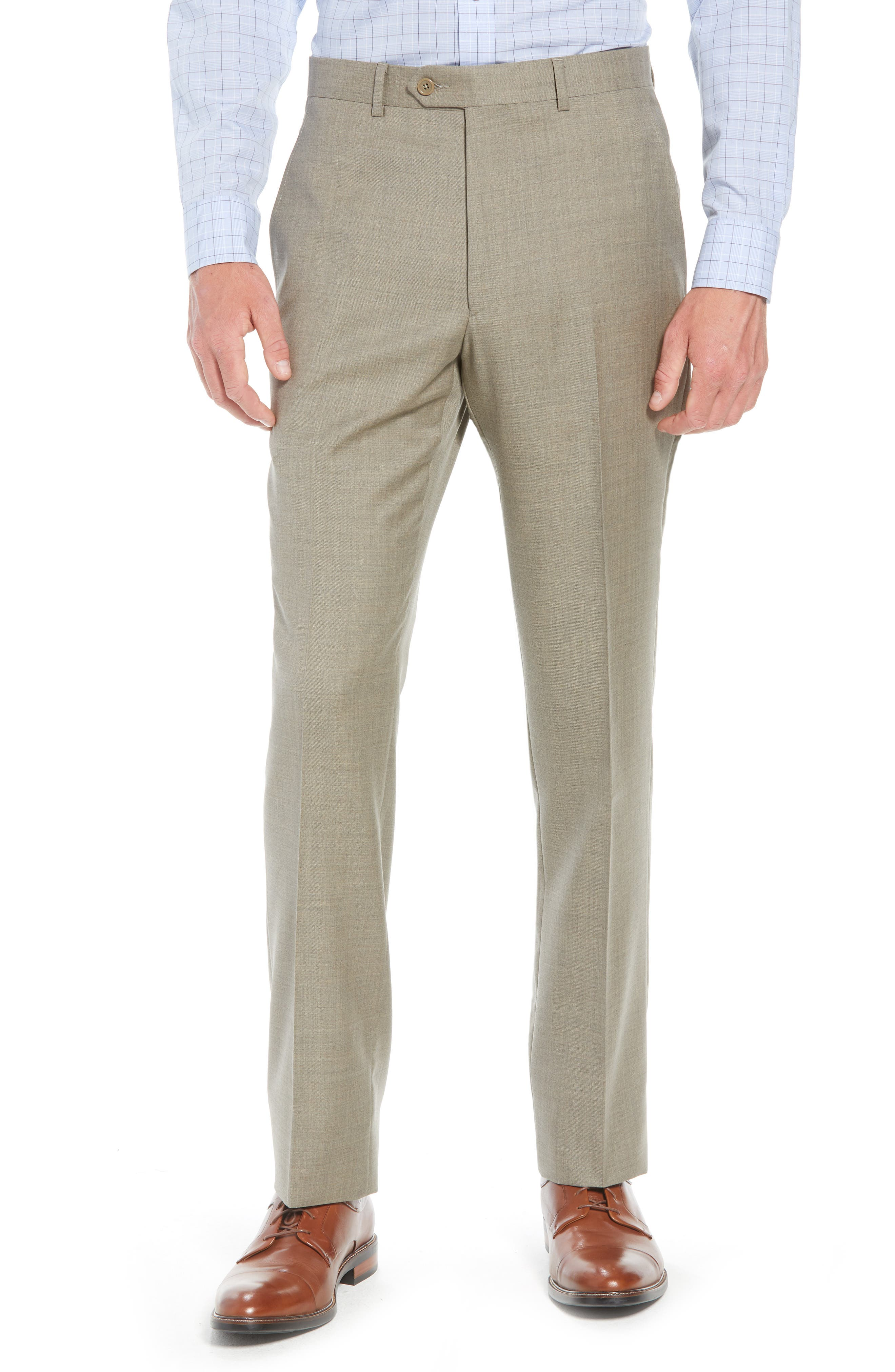 SANTORELLI Luxury Flat Front Wool Trousers in Taupe