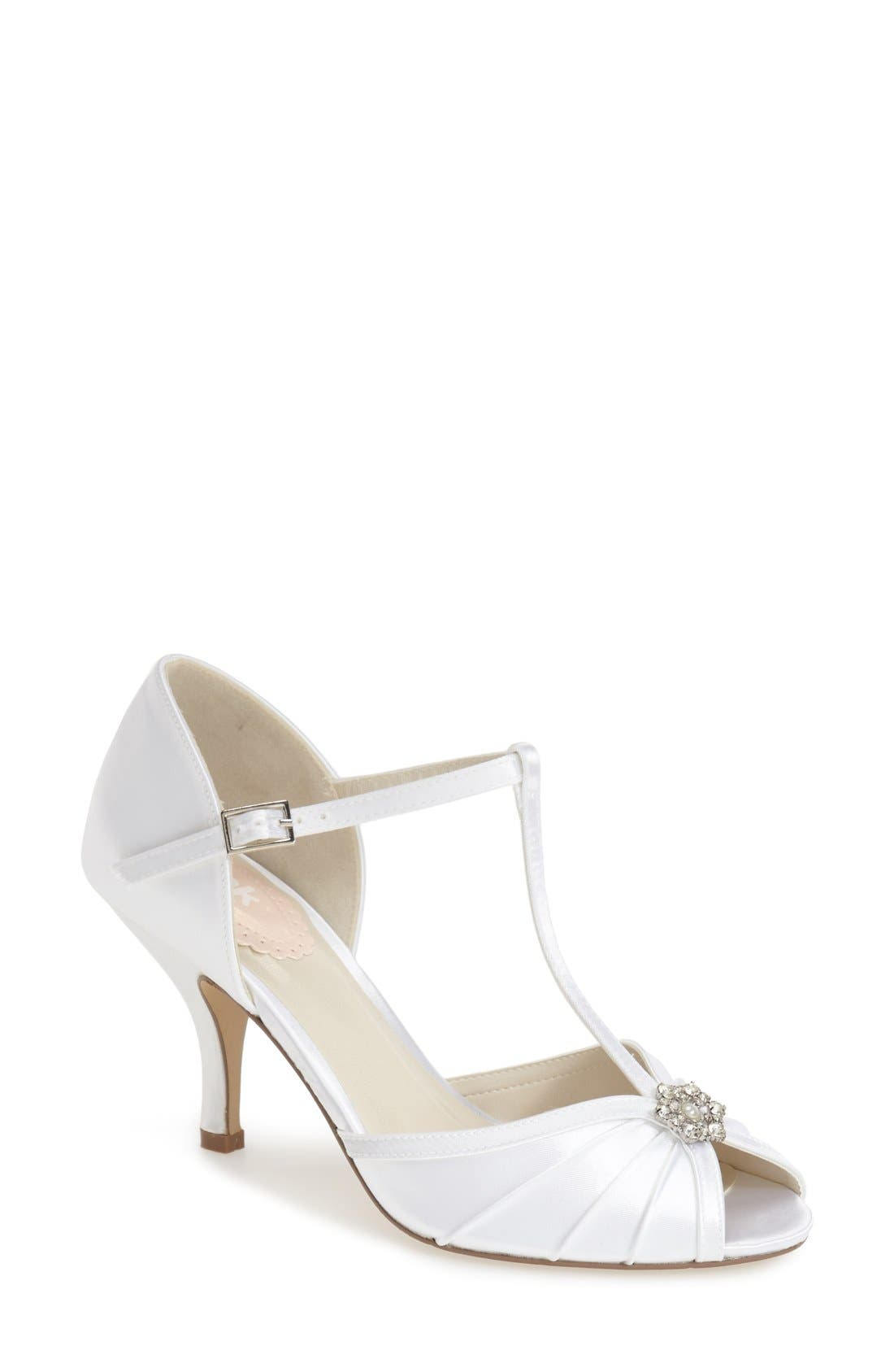 'Perfume' T-Strap Peep Toe Pump,                             Main thumbnail 1, color,                             WHITE SATIN