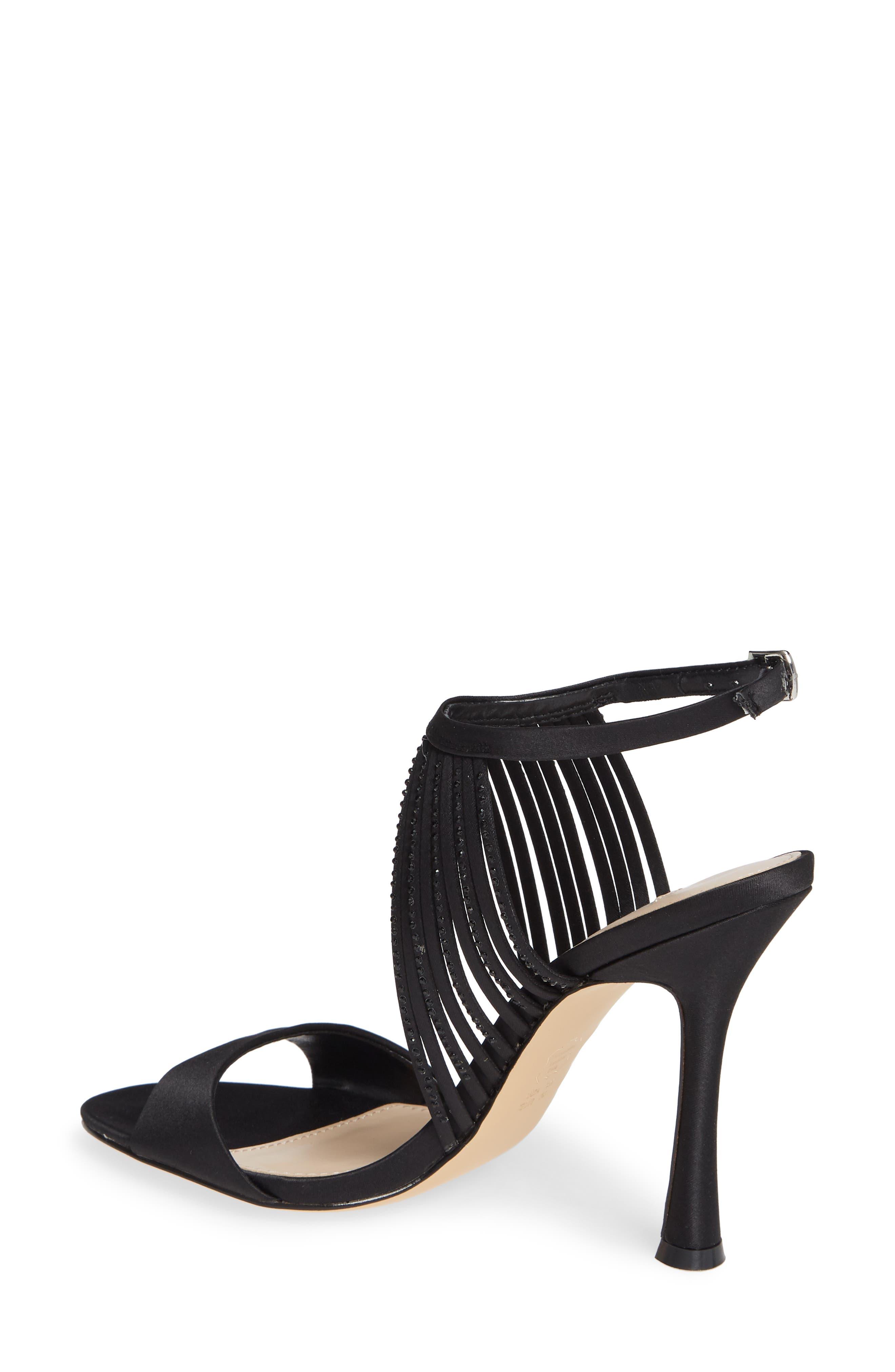 Damaris Crystal Embellished Sandal,                             Alternate thumbnail 2, color,                             BLACK SATIN