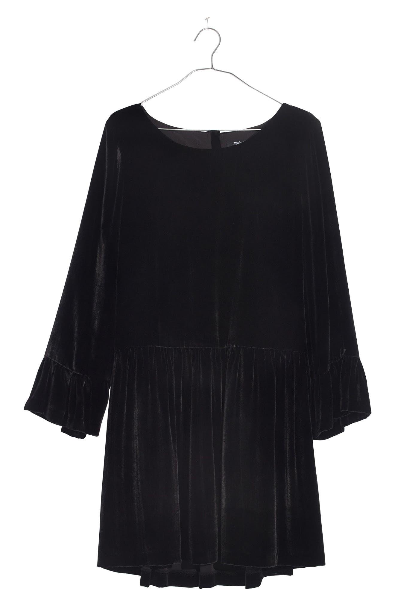 Velvet Bell Sleeve Dress,                             Alternate thumbnail 3, color,                             001