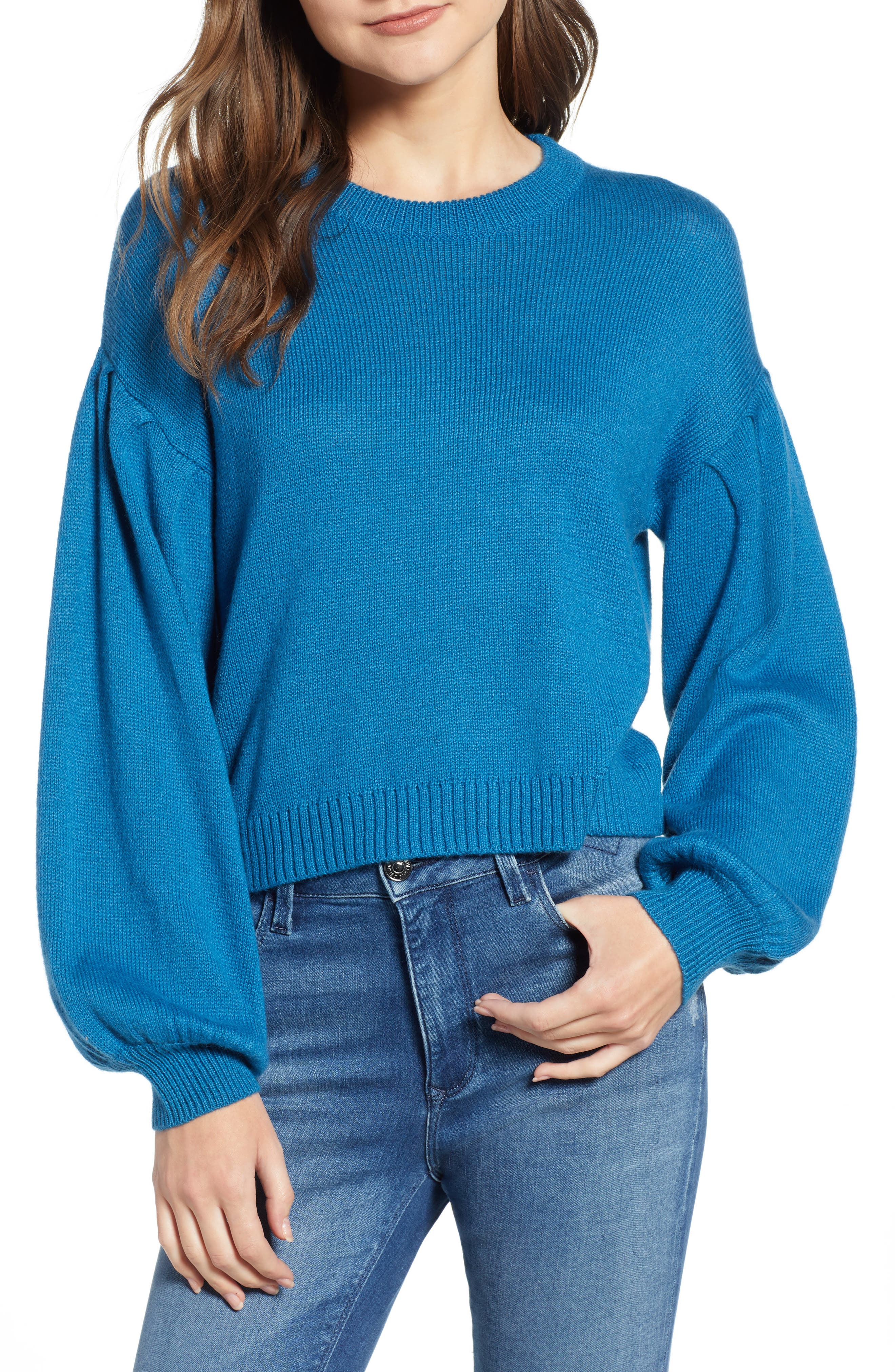 Blouson Sleeve Sweater,                             Main thumbnail 1, color,                             TEAL SAPPHIRE