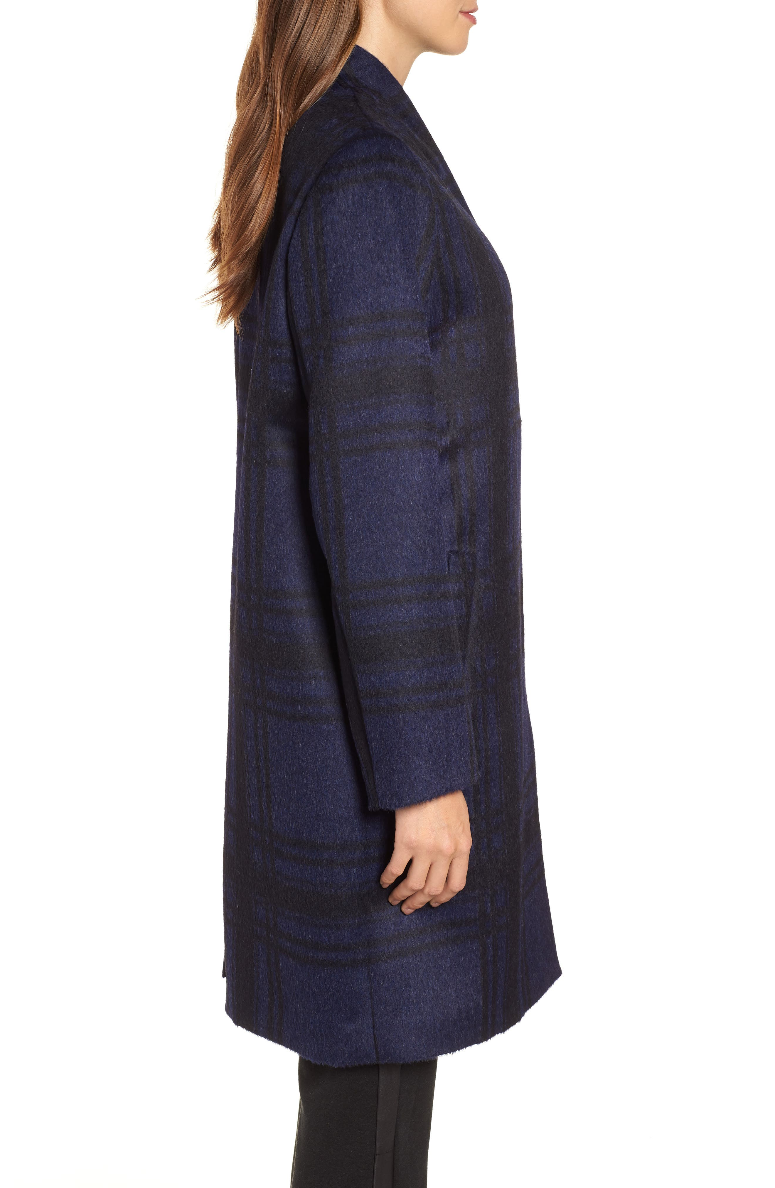 Plaid Alpaca Blend Coat,                             Alternate thumbnail 3, color,                             419