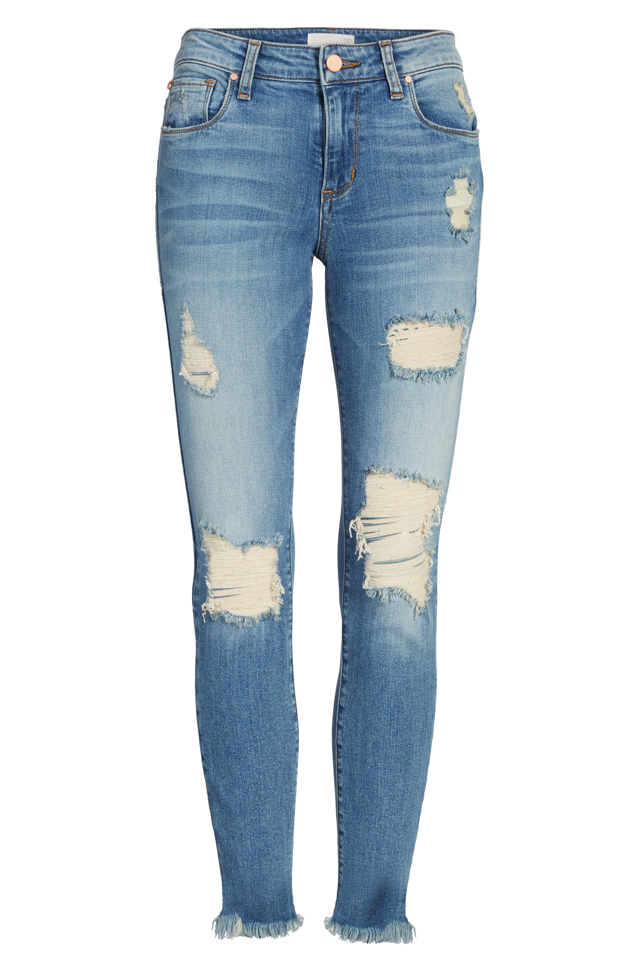Ripped Crop Skinny Jeans,                             Alternate thumbnail 6, color,                             420
