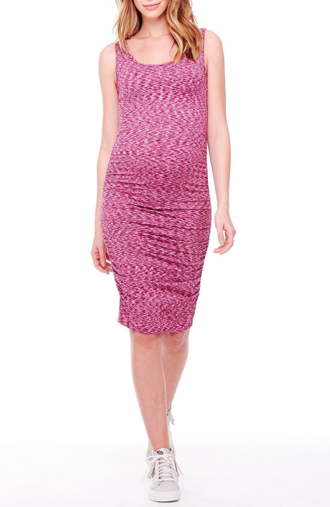 Ingrid & Isabel Space Dye Ruched Maternity Tank Dress