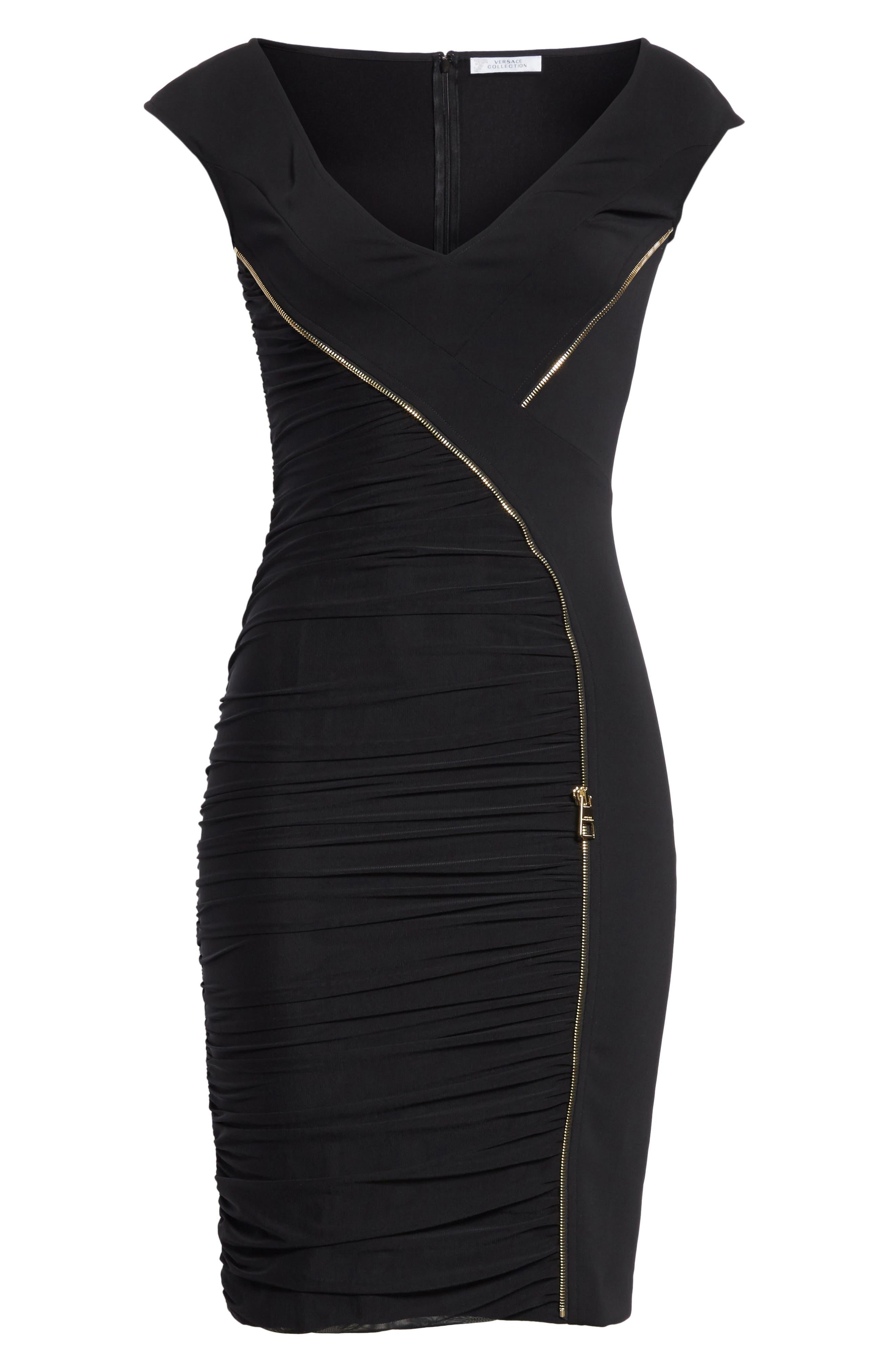 Zipper Detail Sheath Dress,                             Alternate thumbnail 6, color,                             001