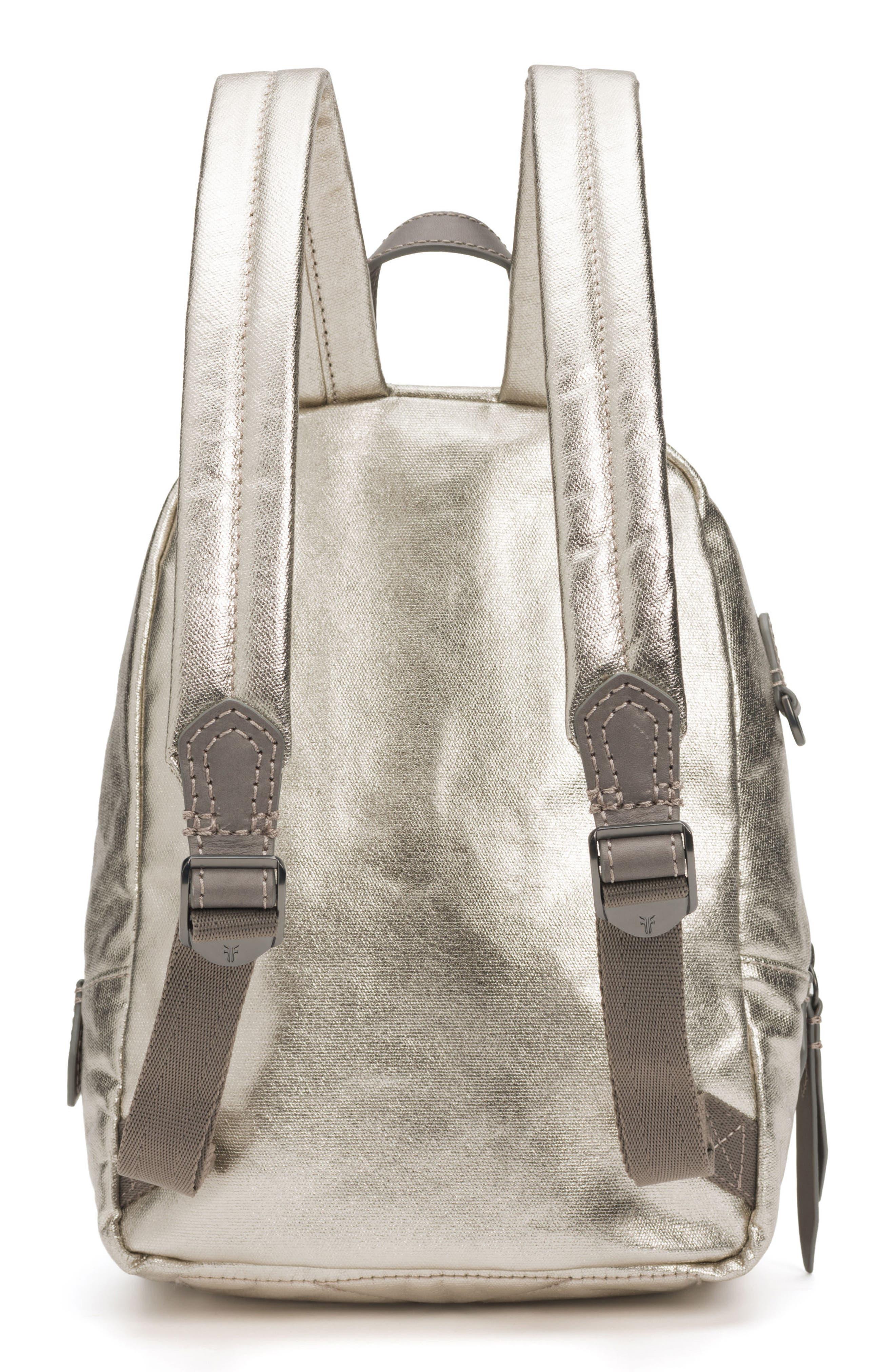 Mini Ivy Metallic Nylon Backpack,                             Alternate thumbnail 3, color,                             PEWTER